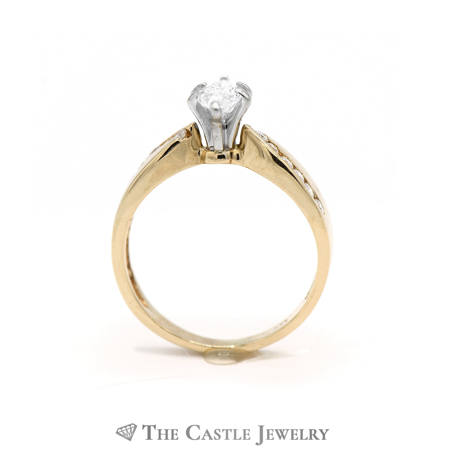 Marquise Center Cut Diamond with Diamond Accents in 14kt Yellow Gold-1