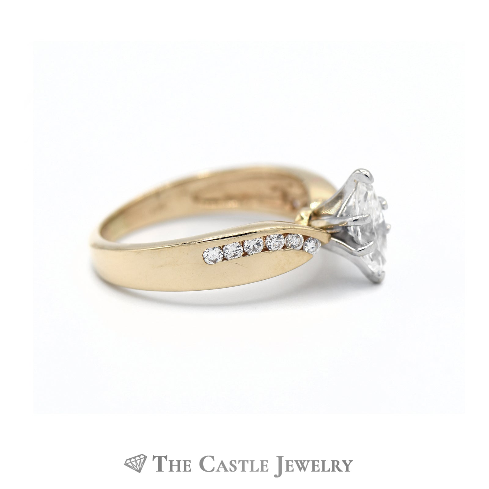 Marquise Center Cut Diamond with Diamond Accents in 14kt Yellow Gold-2