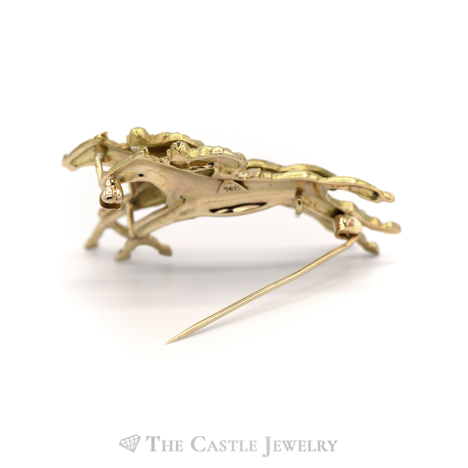 Horse Racing Brooch in 14KT Yellow Gold-2