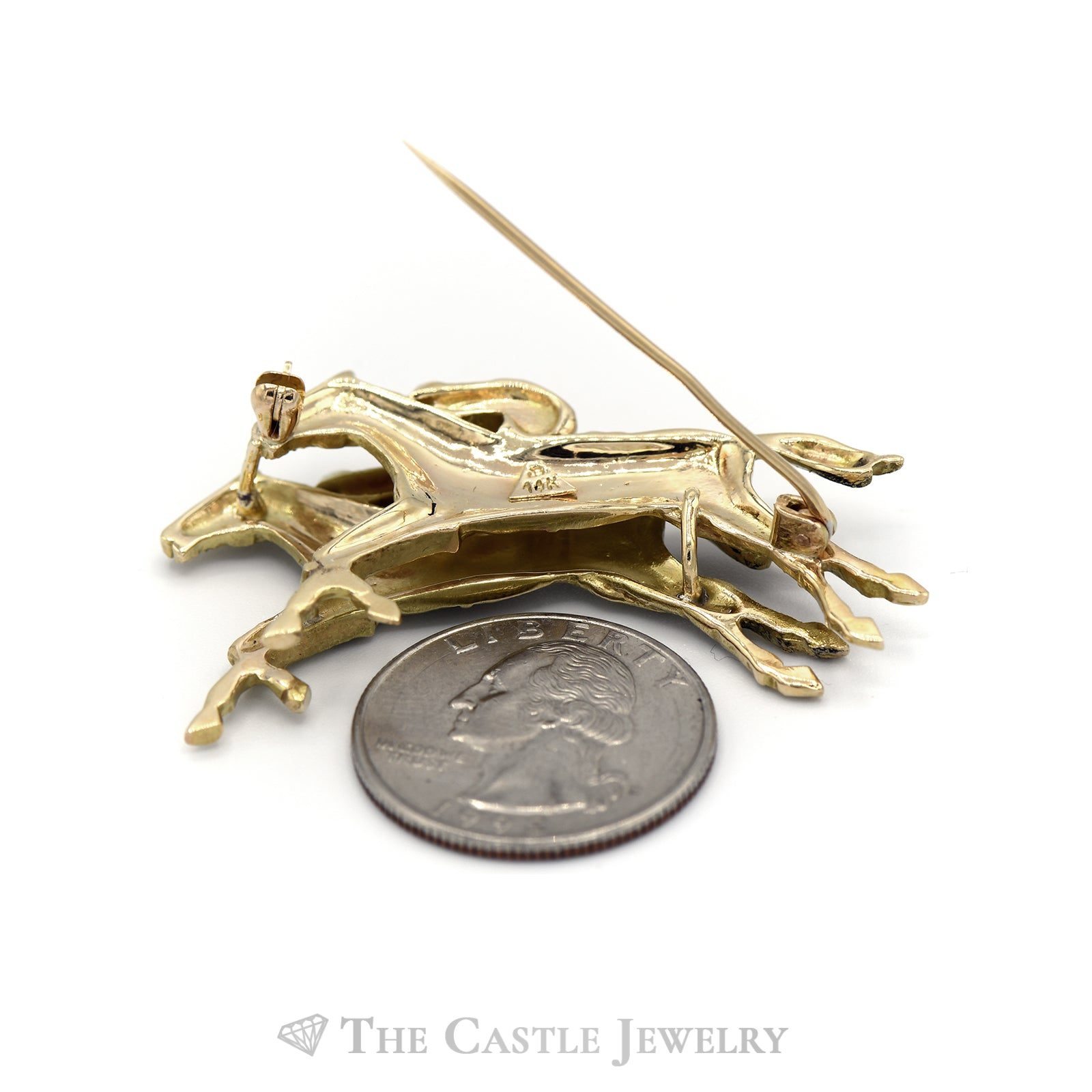 Horse Racing Brooch in 14KT Yellow Gold-1