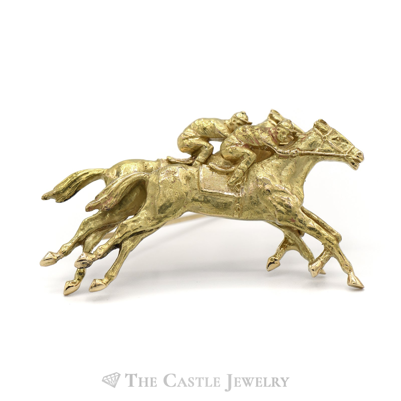 Horse Racing Brooch in 14KT Yellow Gold-0