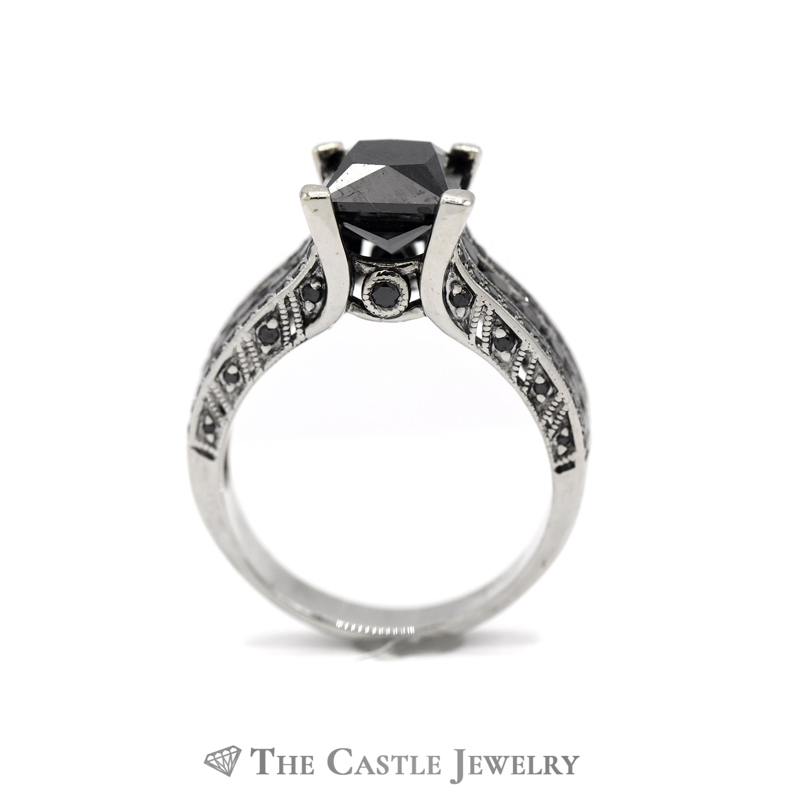 2.75cttw Square Black Diamond Engagement Ring with Black Diamond Accents in 14k White Gold-1
