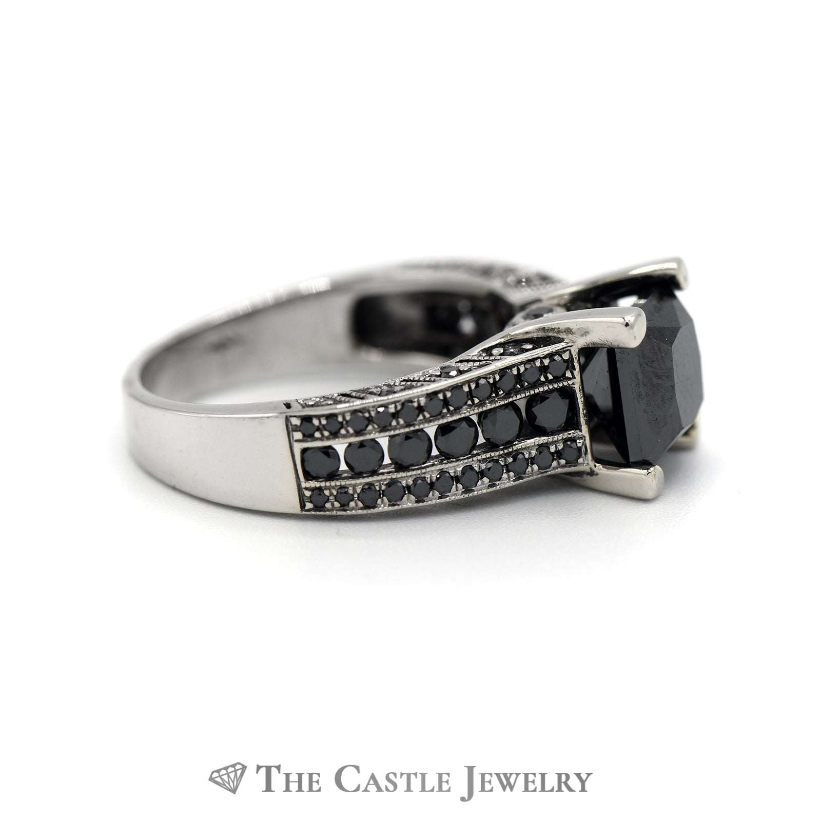 2.75cttw Square Black Diamond Engagement Ring with Black Diamond Accents in 14k White Gold-2