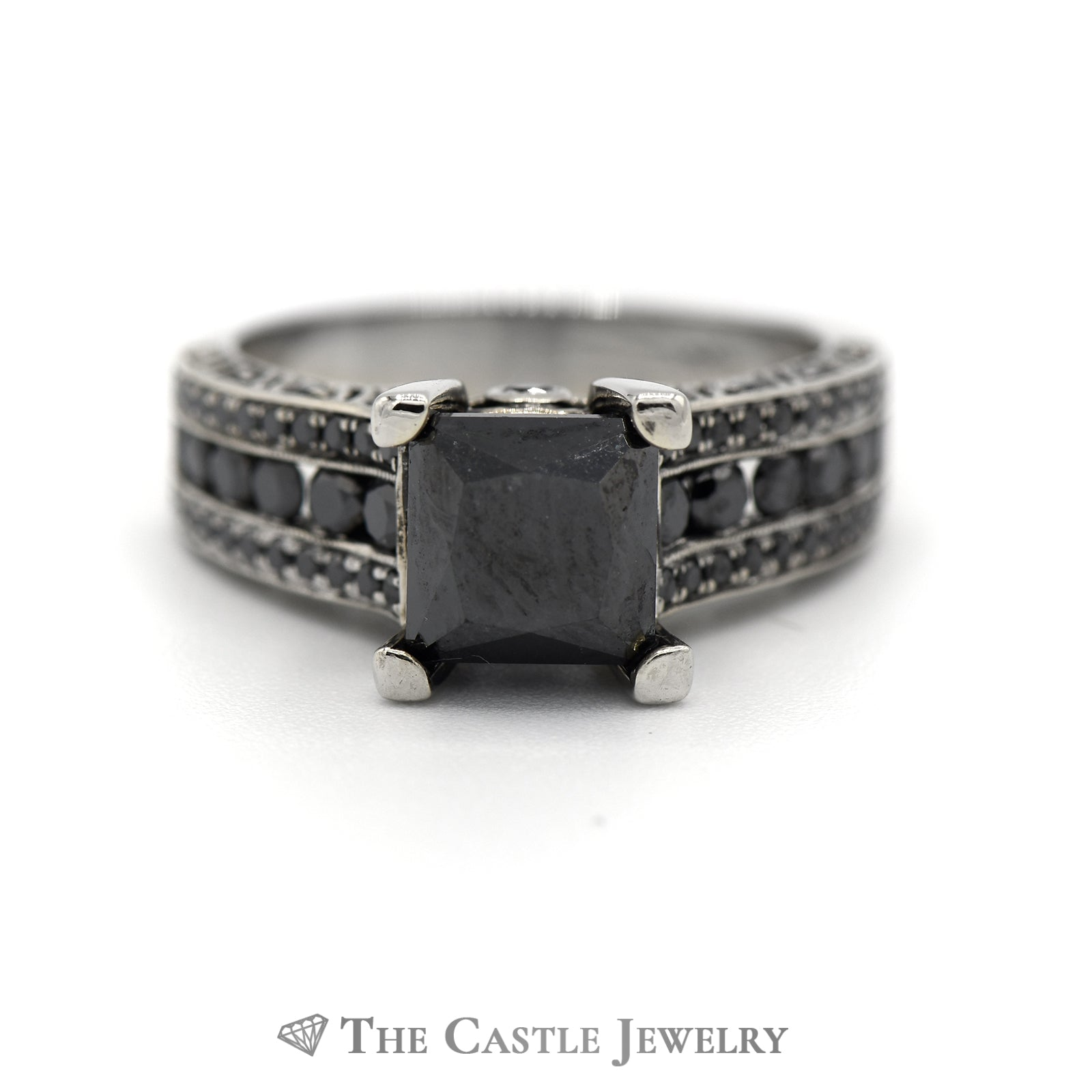 2.75cttw Square Black Diamond Engagement Ring with Black Diamond Accents in 14k White Gold