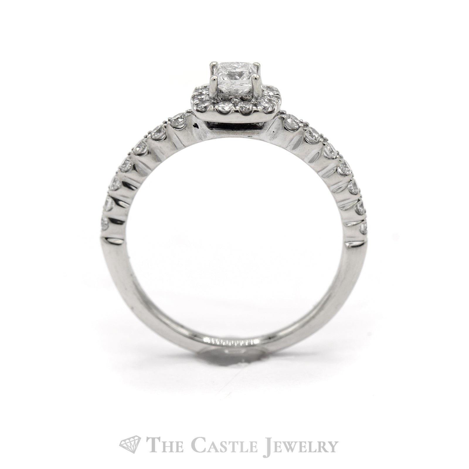 1/2 Carat Princess Cut Engagement Ring with Diamond Halo in 14KT White Gold-1
