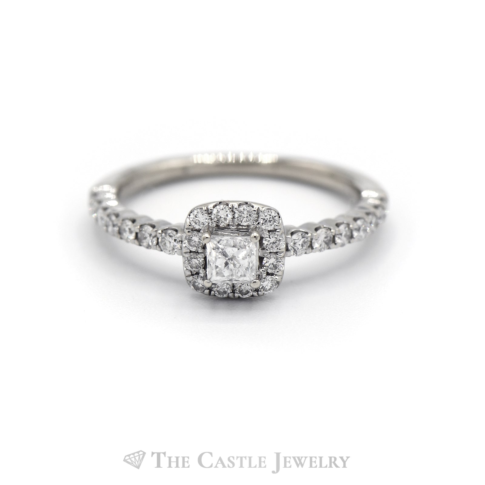 1/2 Carat Princess Cut Engagement Ring with Diamond Halo in 14KT White Gold