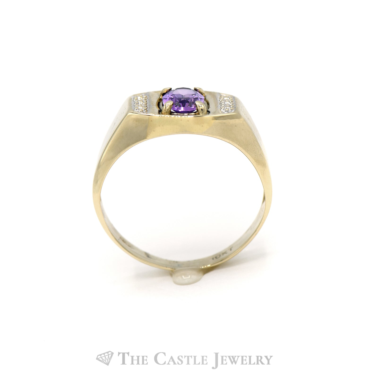Men's Oval Cut Amethyst Ring in 10KT Yellow Gold-1