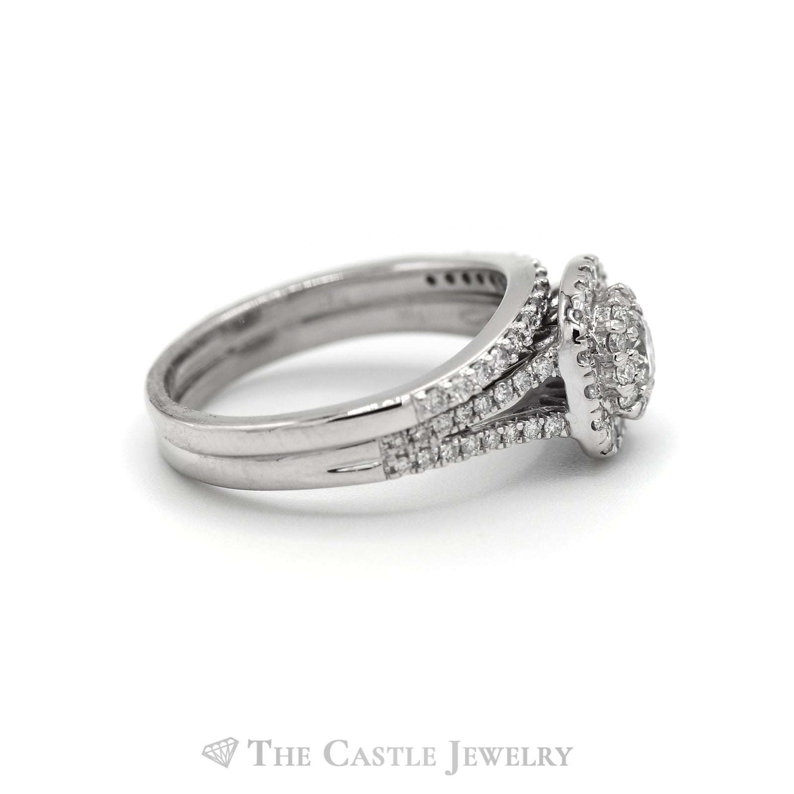 1cttw Diamond Halo Engagement Ring with Matching Curved Band in 14k White Gold-2