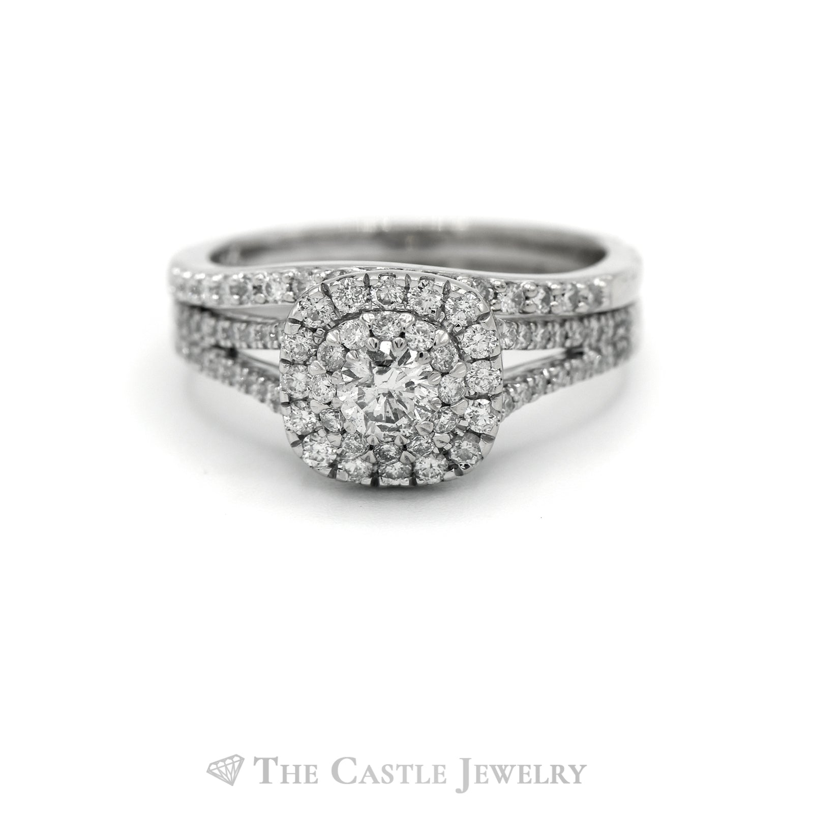 1cttw Diamond Halo Engagement Ring with Matching Curved Band in 14k White Gold