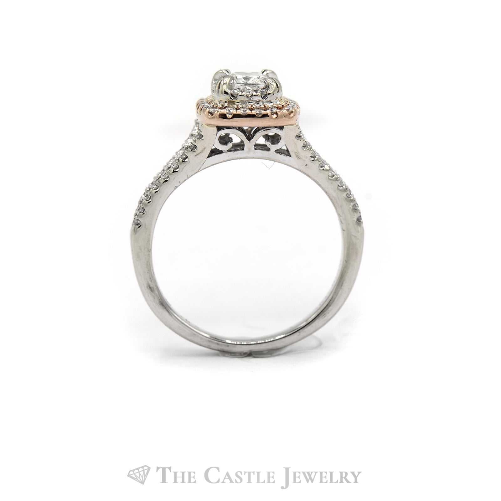 .63CTTW Cushion and Round Cut Diamond Two-Toned Bridal Set-1