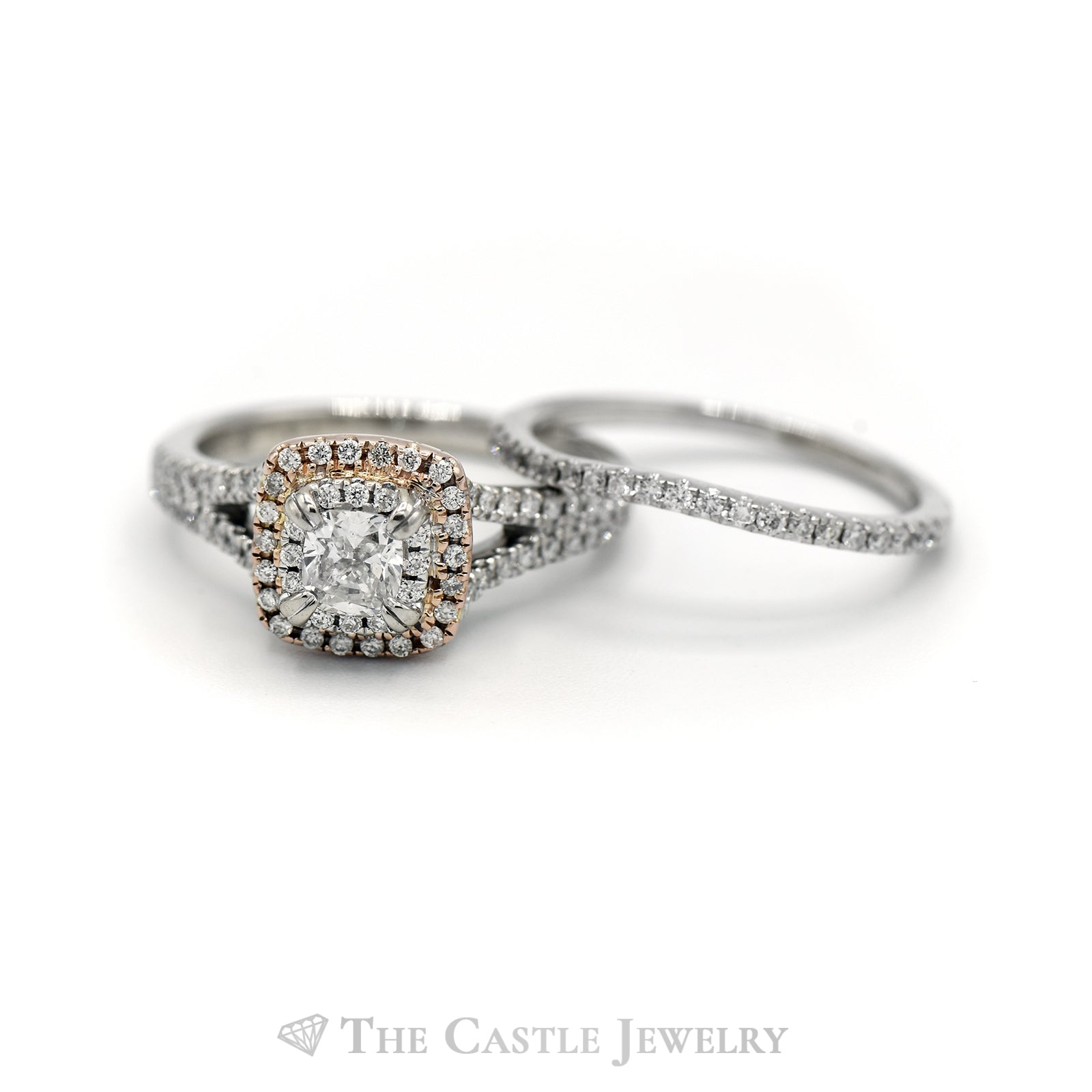 .63CTTW Cushion and Round Cut Diamond Two-Toned Bridal Set-3