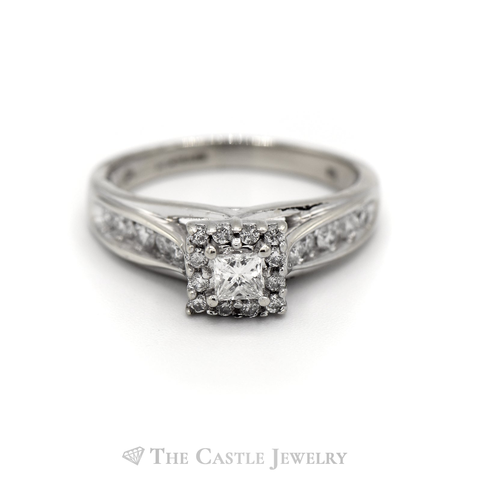 Princess Cut Diamond Engagement Ring with Diamond Halo & Accents in 14k White Gold