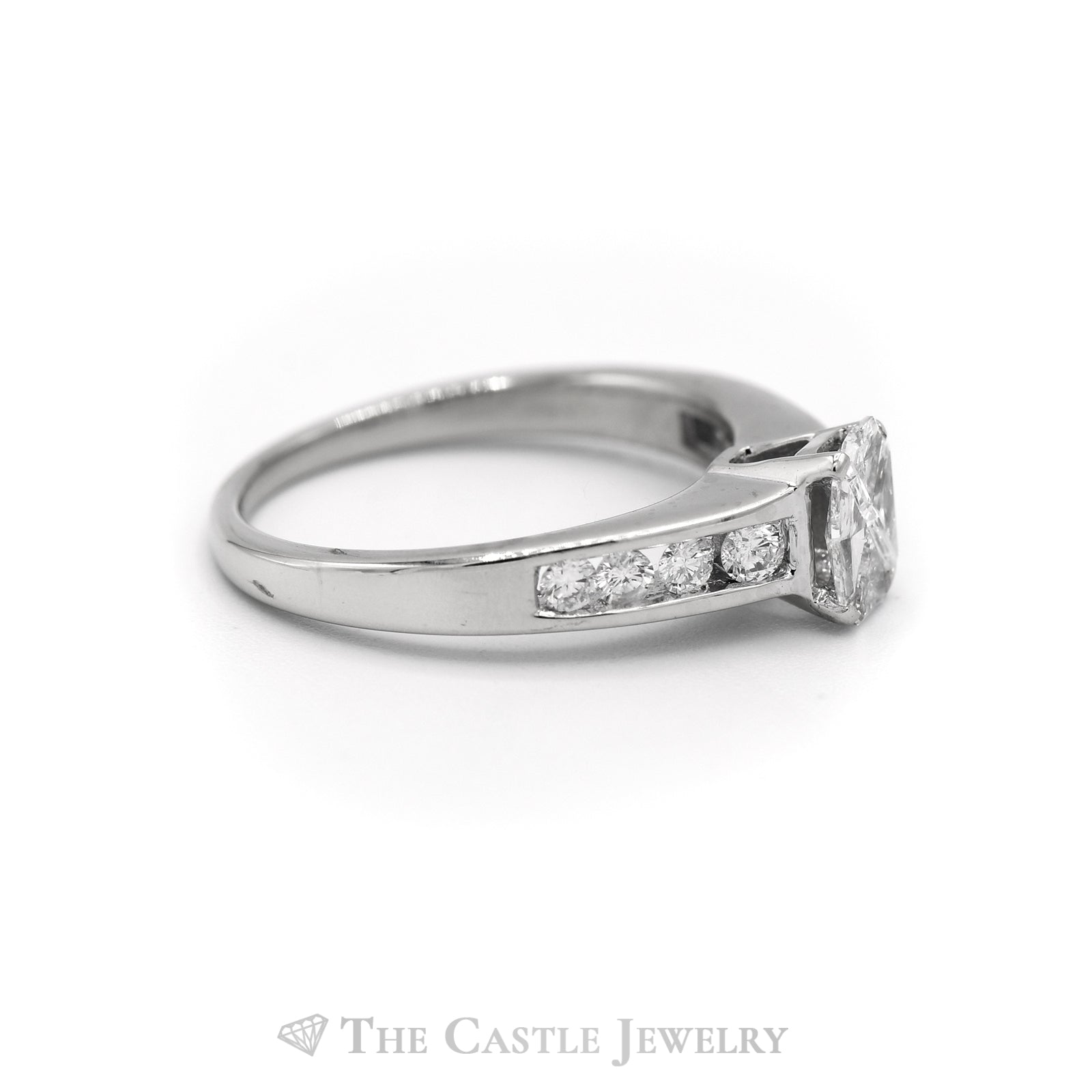 1CTTW Four Trillion Cut Center Stones with Channel Set Accents Engagement Ring in 14KT White Gold-2