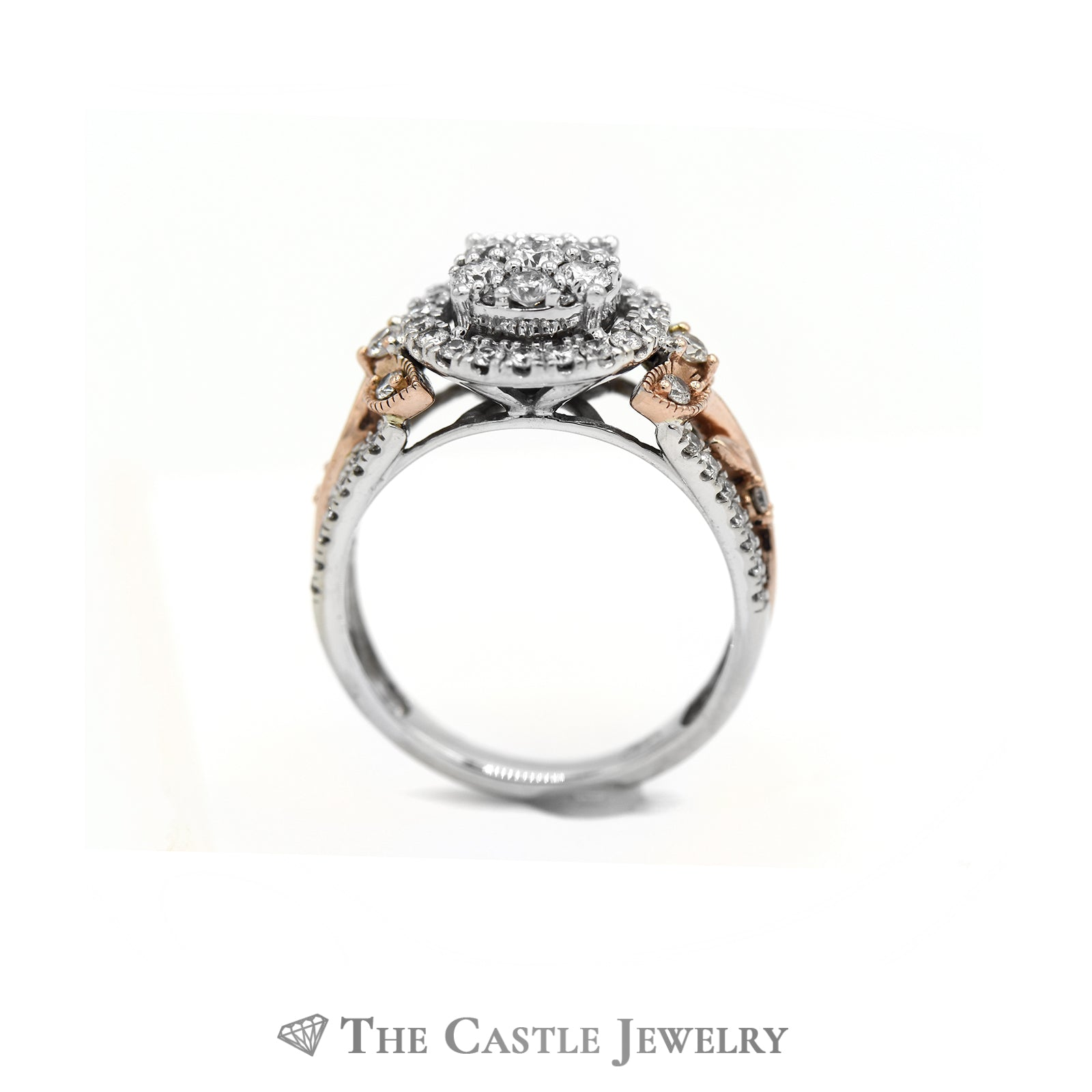 Round Diamond Cluster Engagement Ring in Floral Designed 10k Two Tone Gold Setting-1