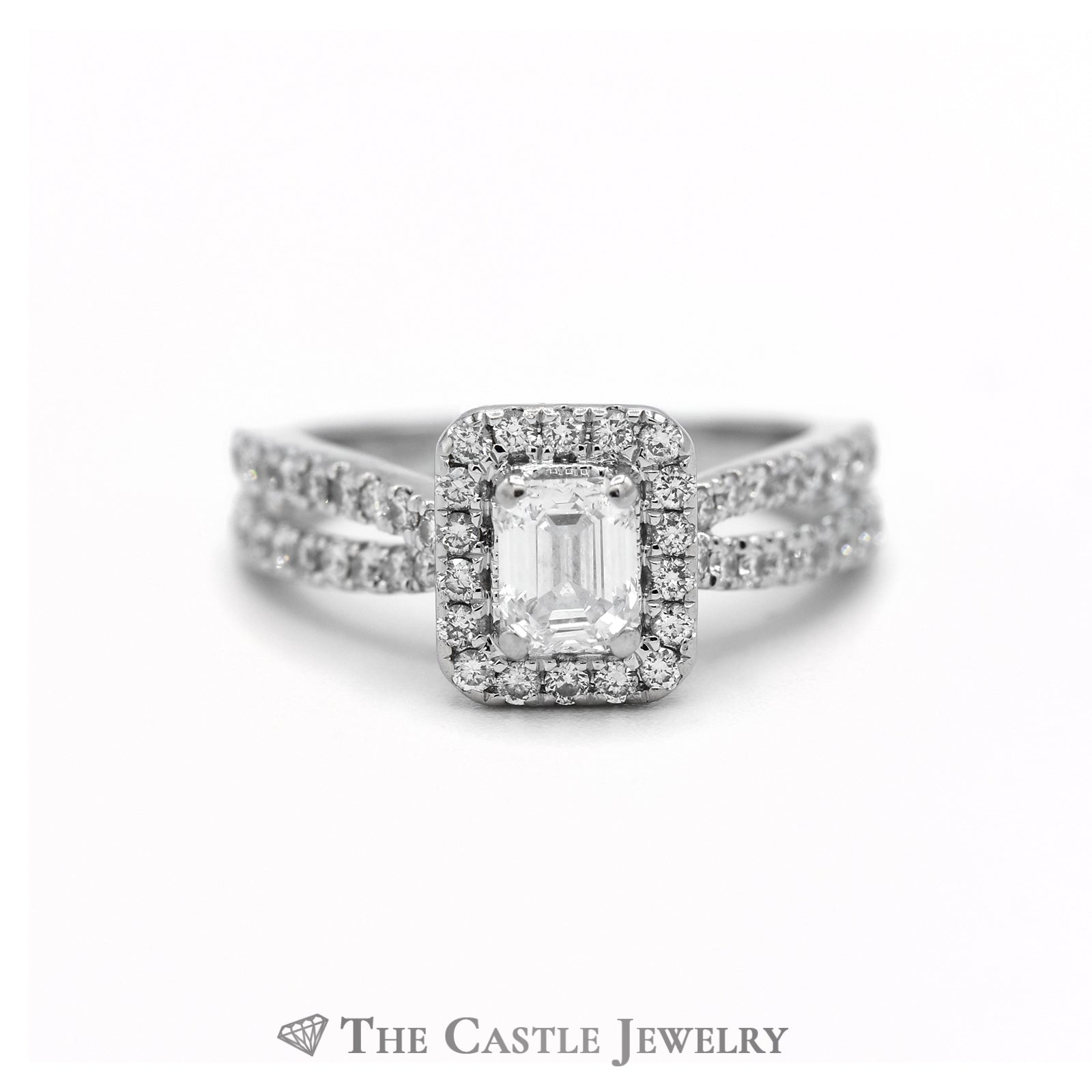 Vera Wang Emerald Cut Diamond Engagement Ring with Surprise Sapphire