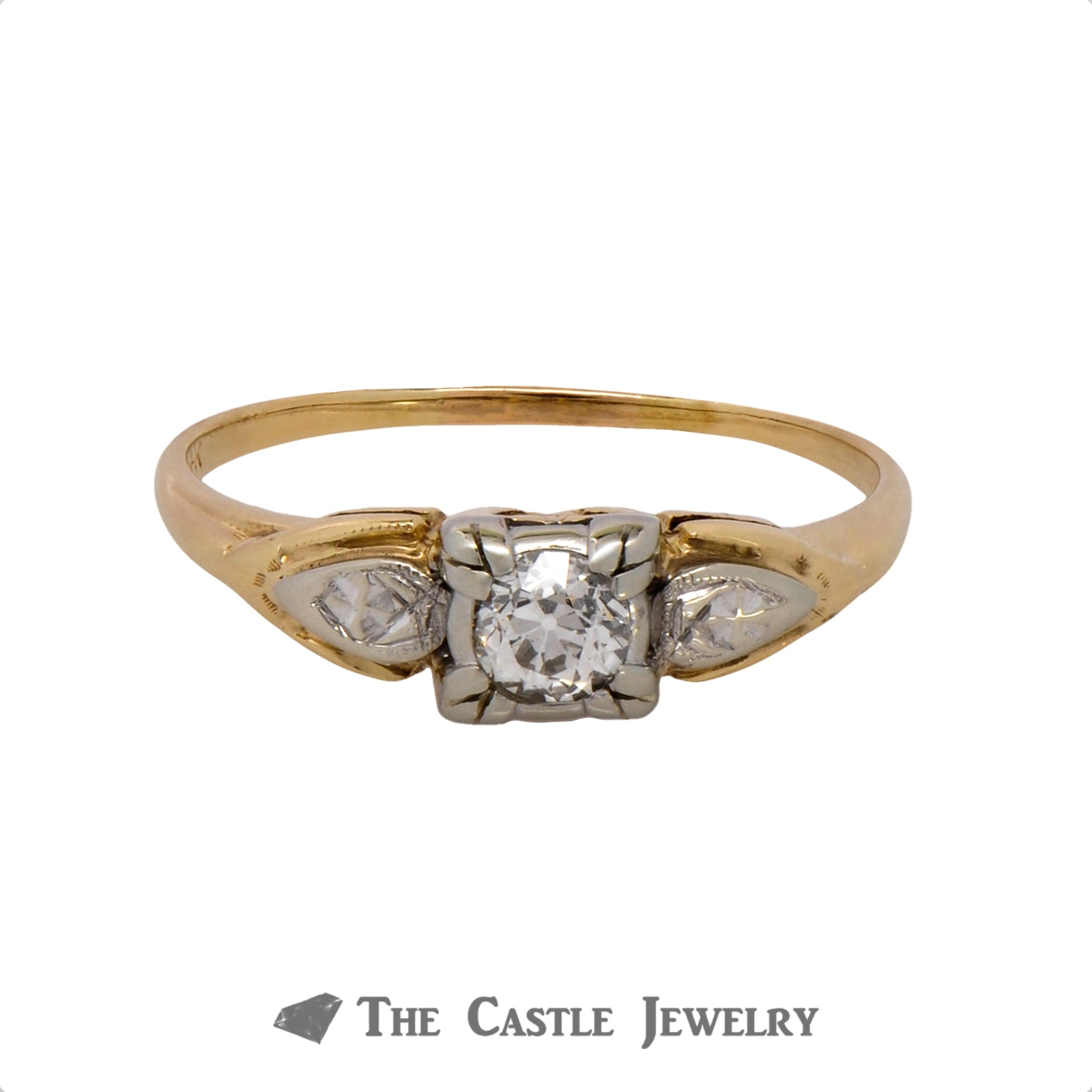 .30ct Old European Cut Diamond Solitaire Engagement Ring in 14k Two-Tone Gold