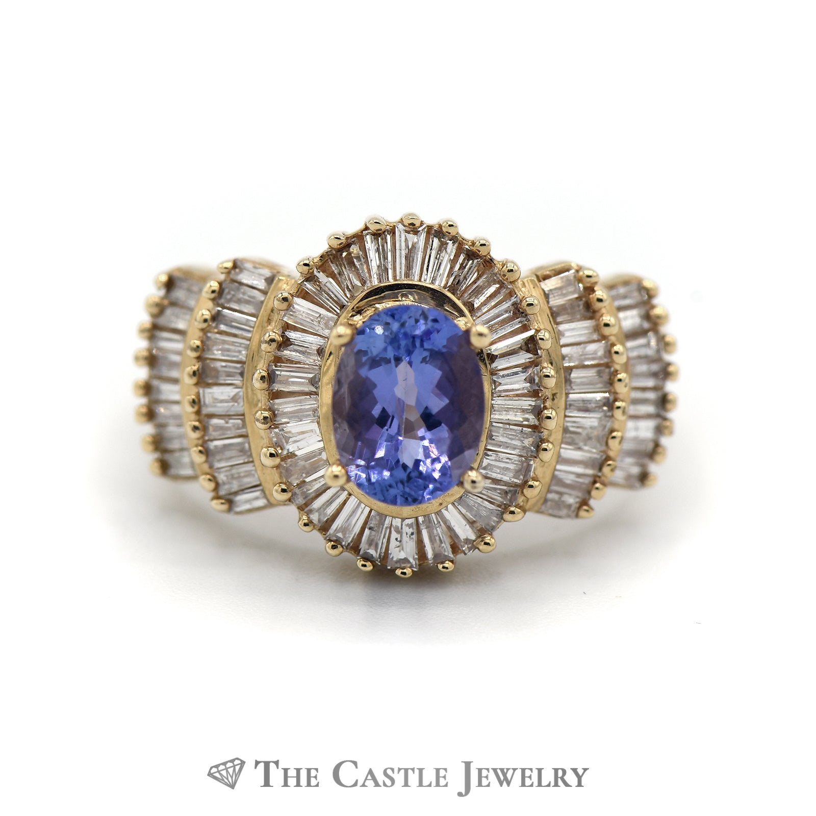 Oval Cut Tanzanite Ring with 1.5cttw Baguette Cut Diamond Halo & Accents