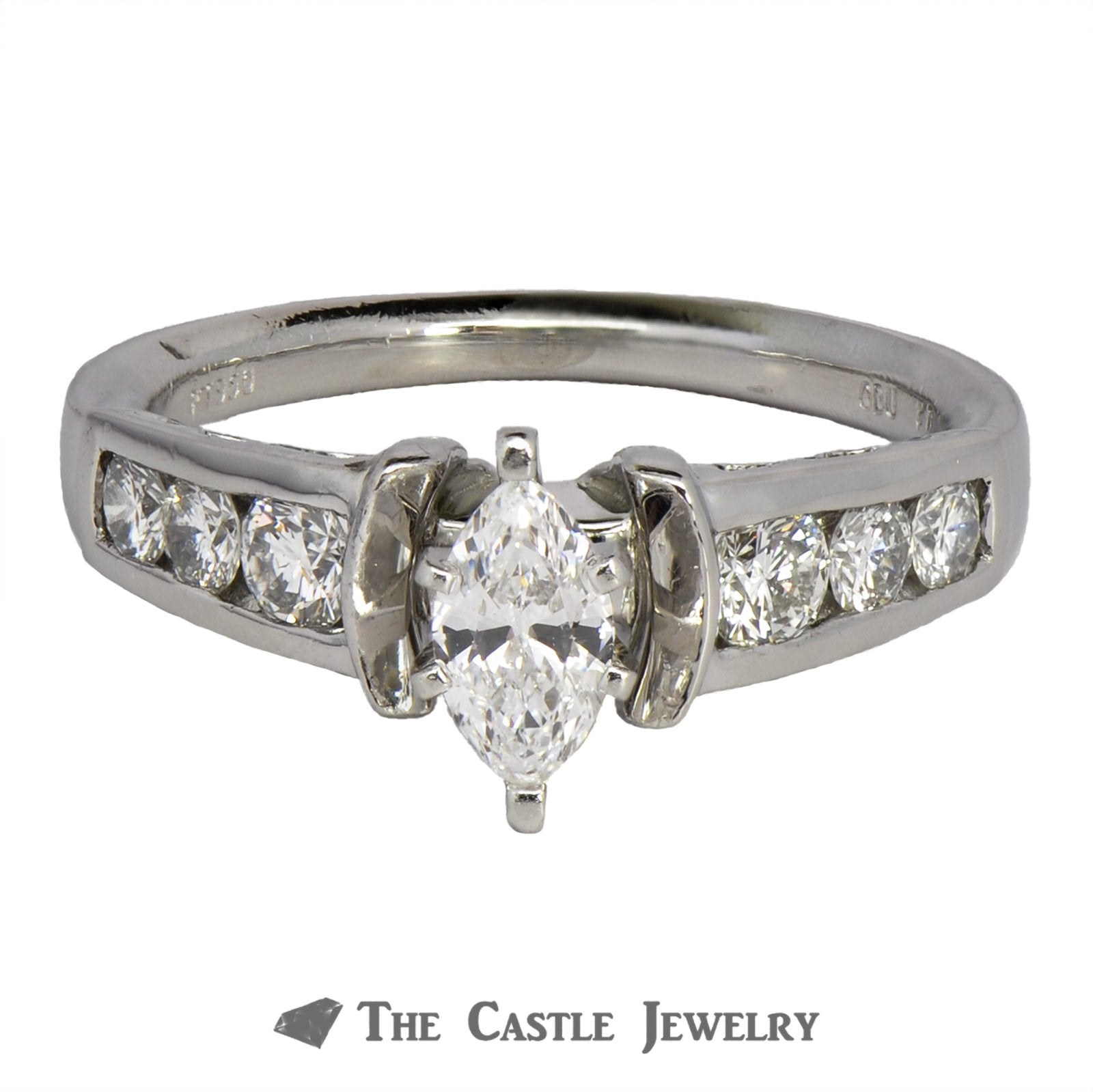 Marquise Engagement Ring with Large Round Diamond Accents in Platinum