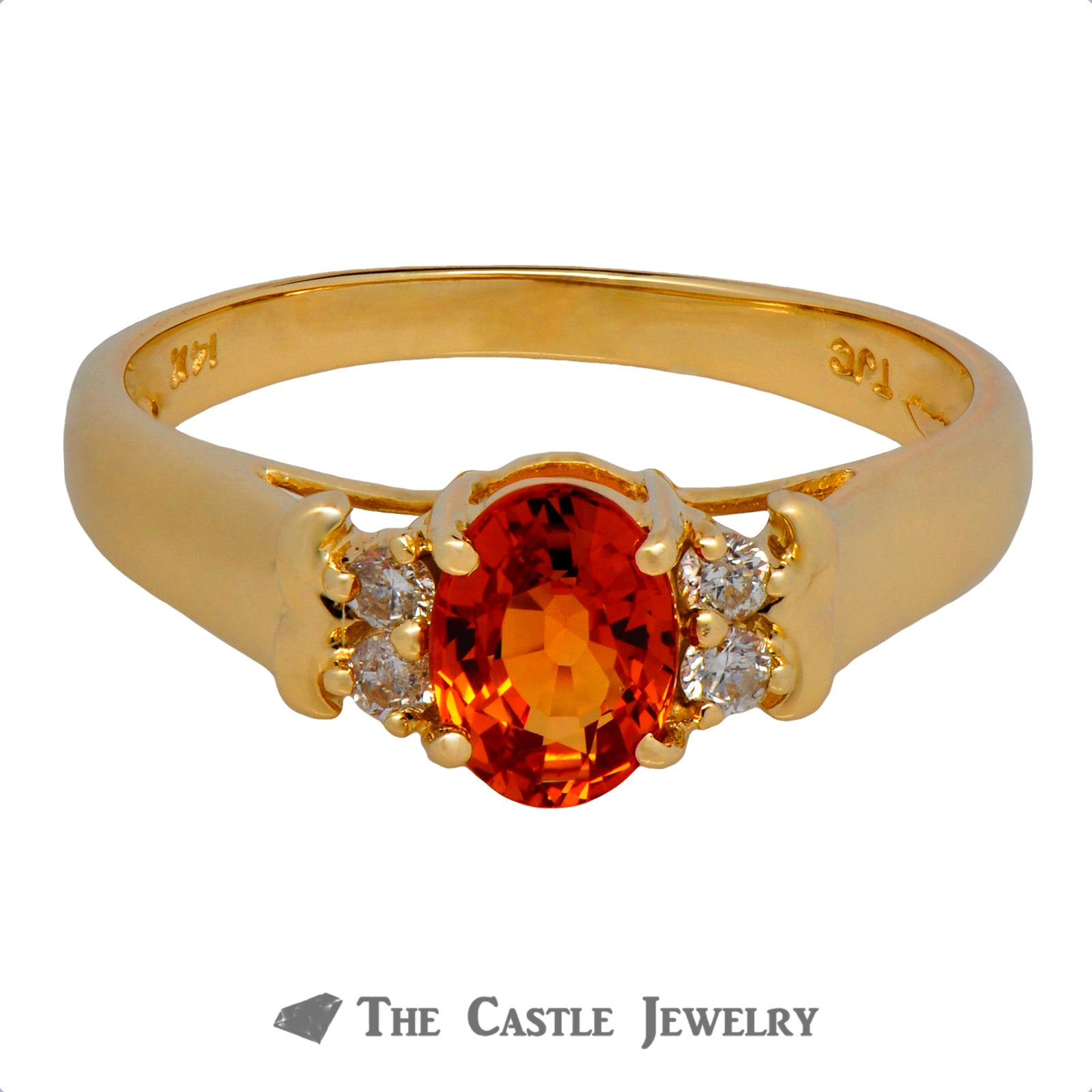 Oval Orange Sapphire Ring with Round Diamond Accents