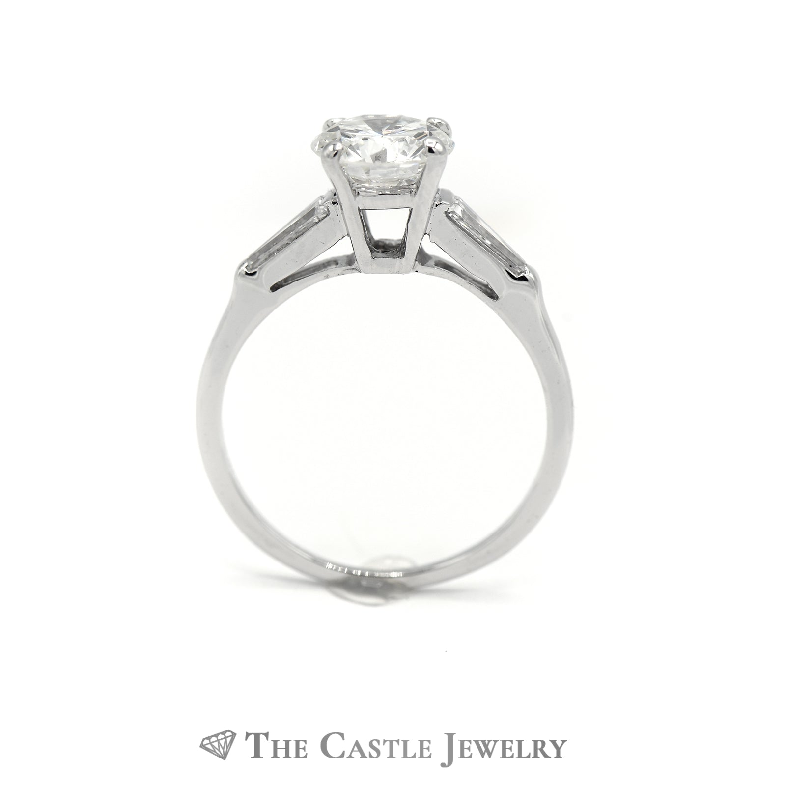 Platinum 1.50cttw Diamond Engagement Ring with Accent Sides-1