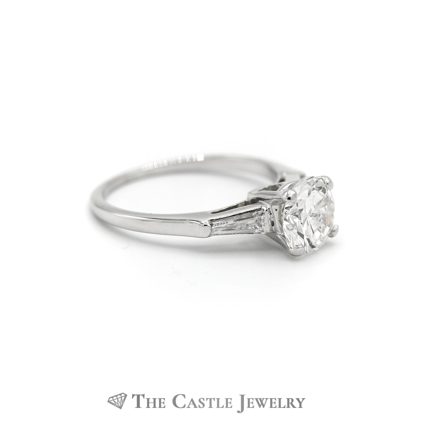 Platinum 1.50cttw Diamond Engagement Ring with Accent Sides-2