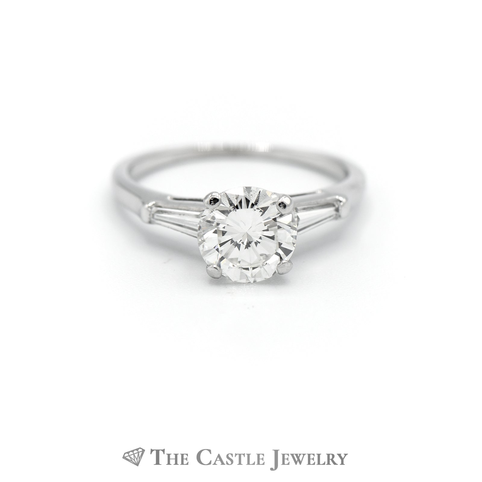 Platinum 1.50cttw Diamond Engagement Ring with Accent Sides