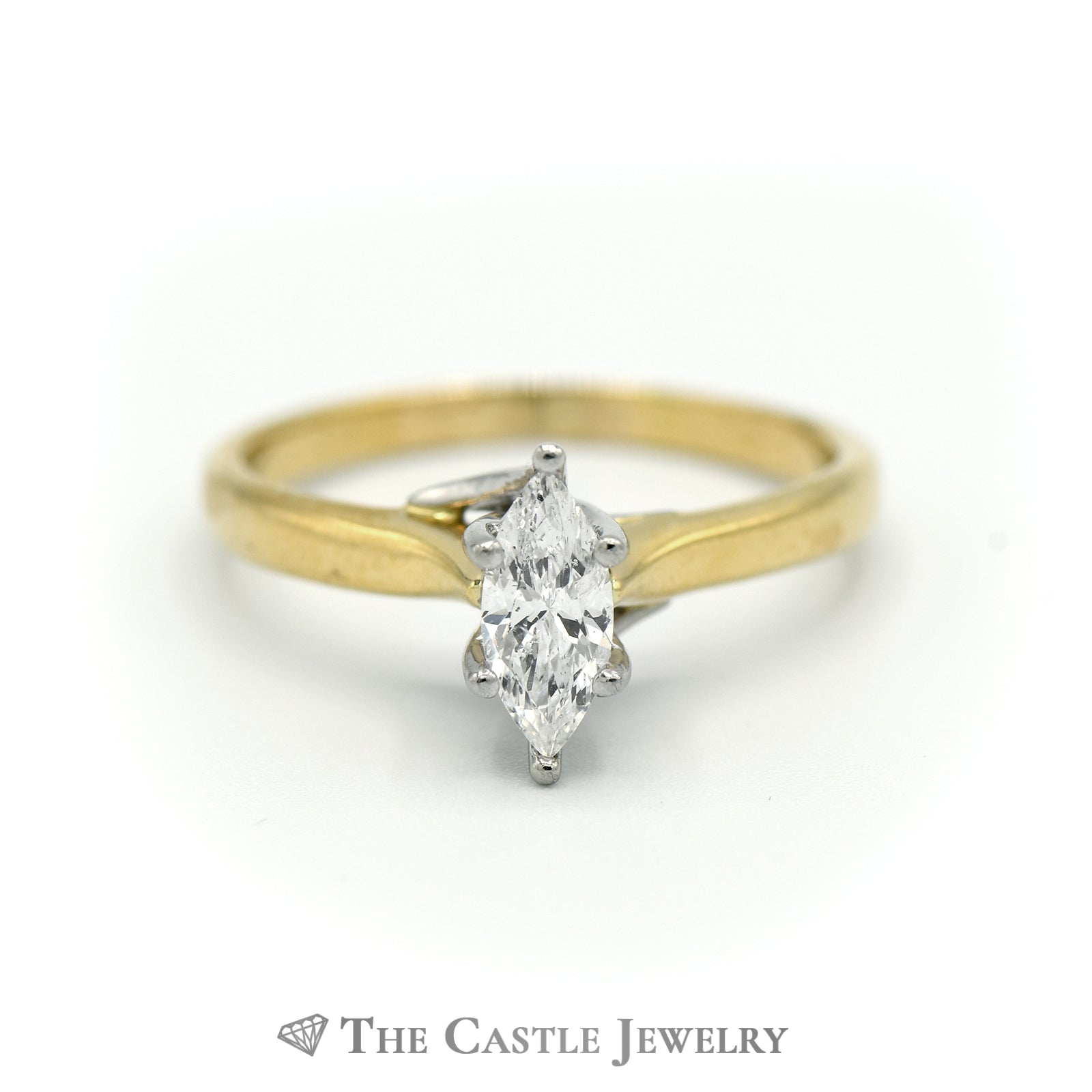 Marquise Solitaire .50ct Diamond Engagement Ring SI3 H in 18K Yellow Gold