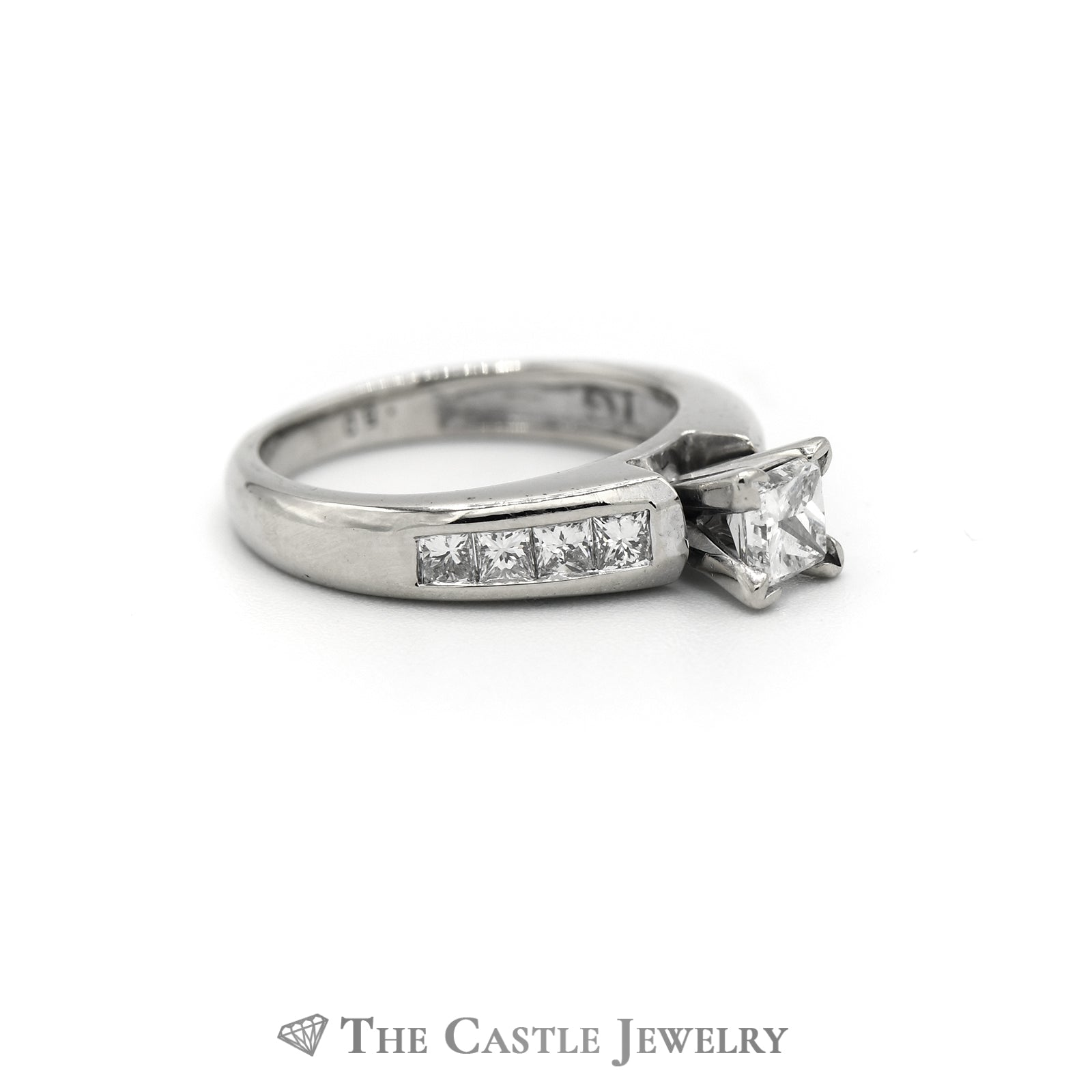 Princess Cut Diamond Engagement Ring 1cttw with Channel Set Mounting in 14K White Gold-2