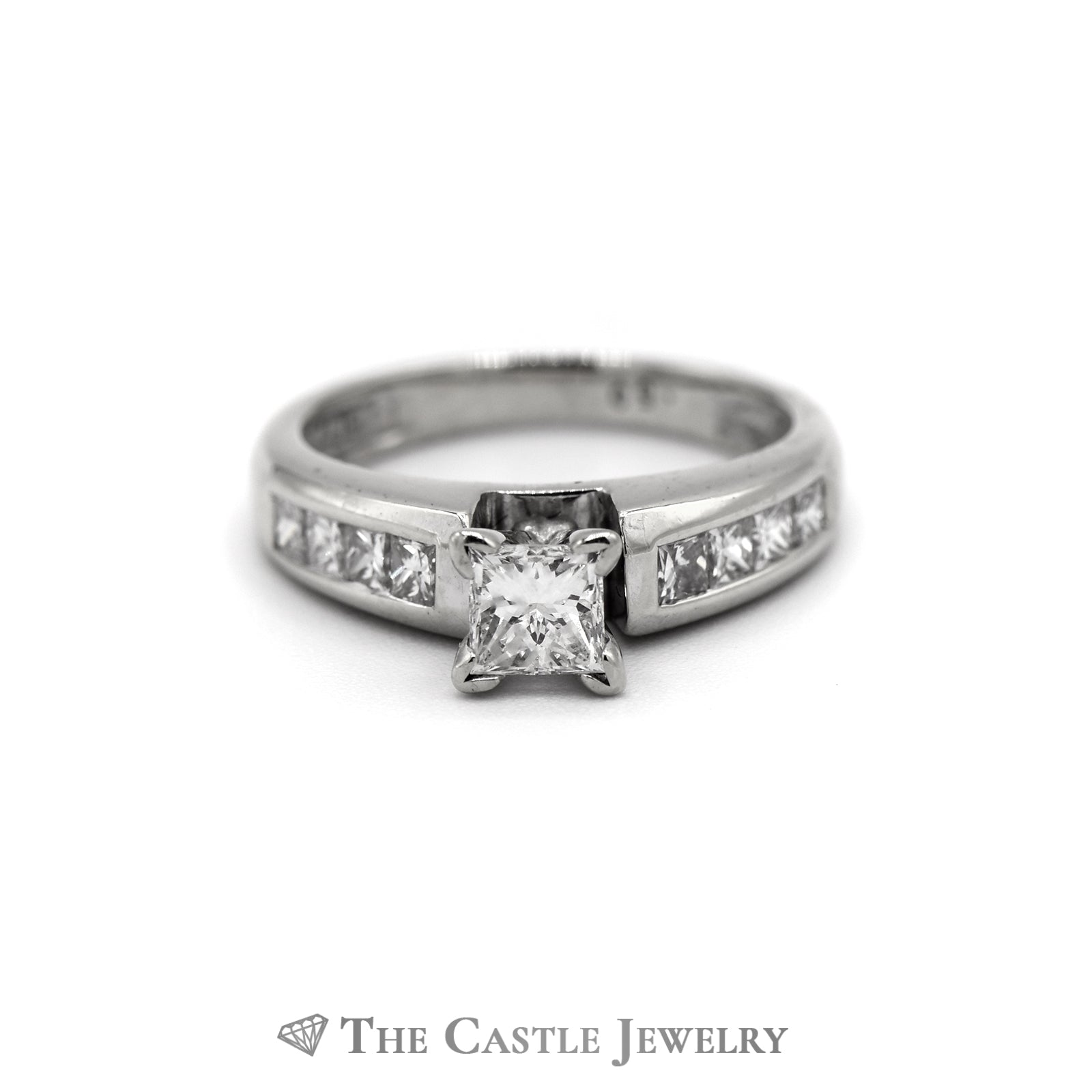Princess Cut Diamond Engagement Ring 1cttw with Channel Set Mounting in 14K White Gold