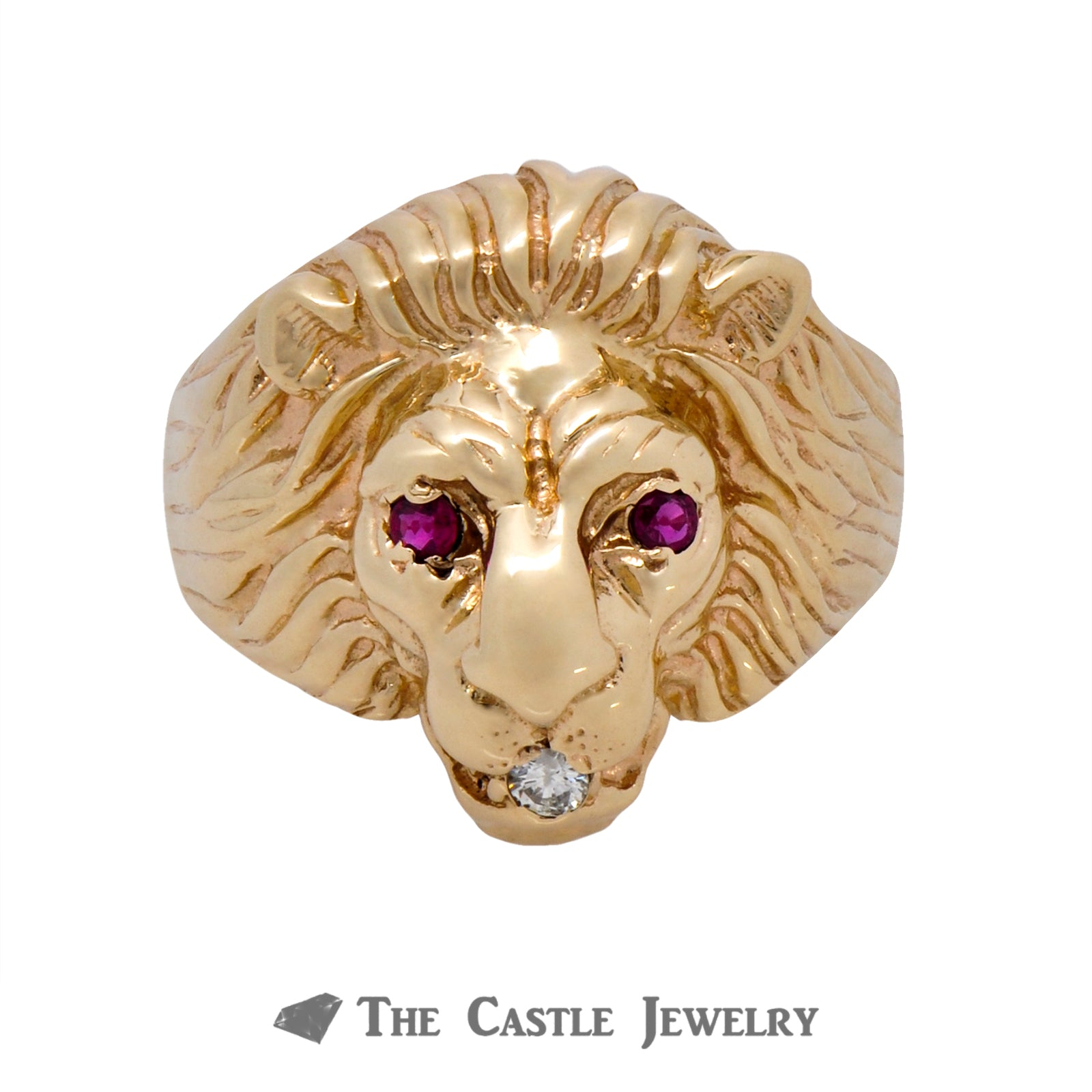 Men's Ruby & Diamond Lion Head Ring in 14k Yellow Gold