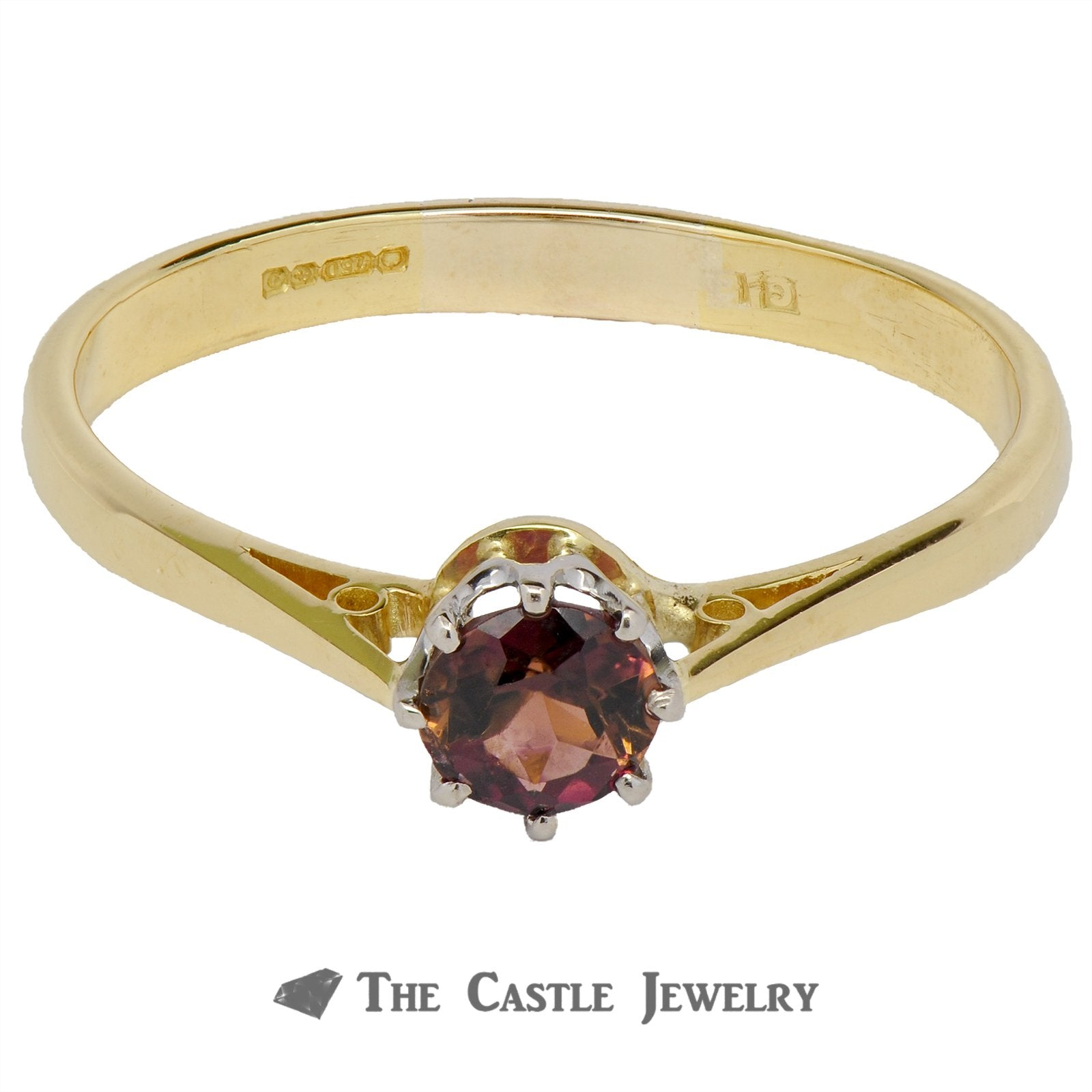 Solitaire Pink Tourmaline Ring In 18K Yellow Gold