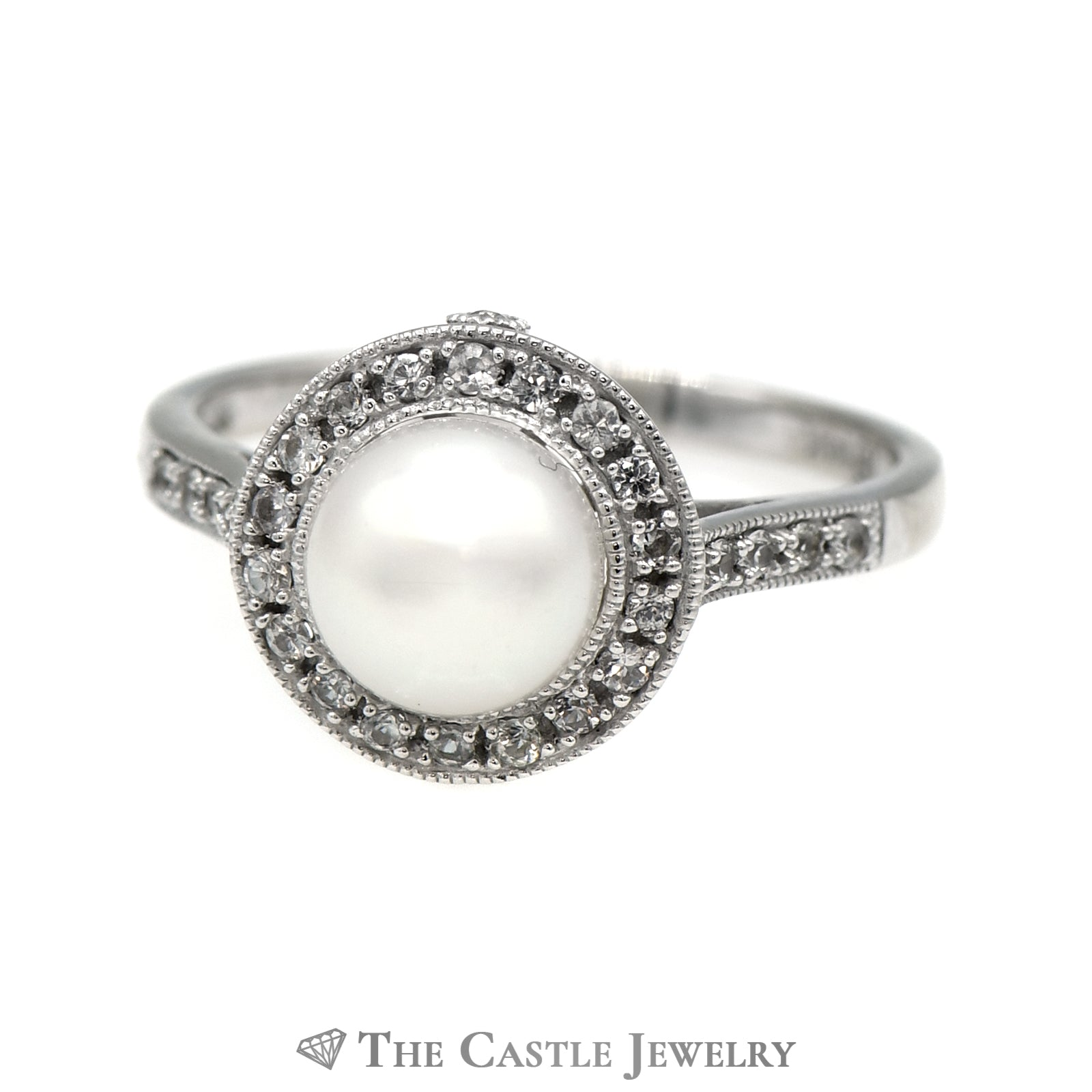 8mm Pearl Ring with White Topaz Halo & Accents in 14k White Gold