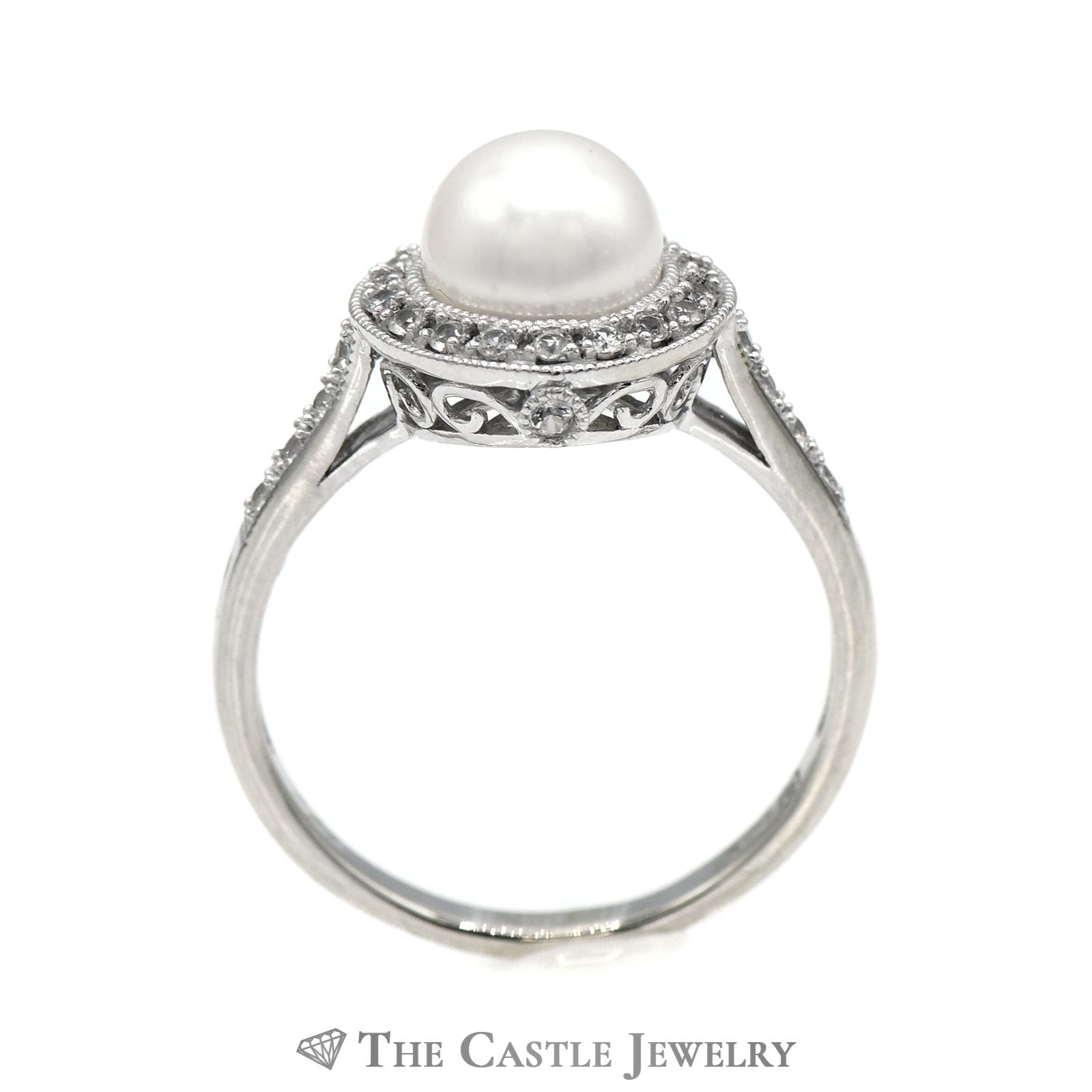 8mm Pearl Ring with White Topaz Halo & Accents in 14k White Gold-1