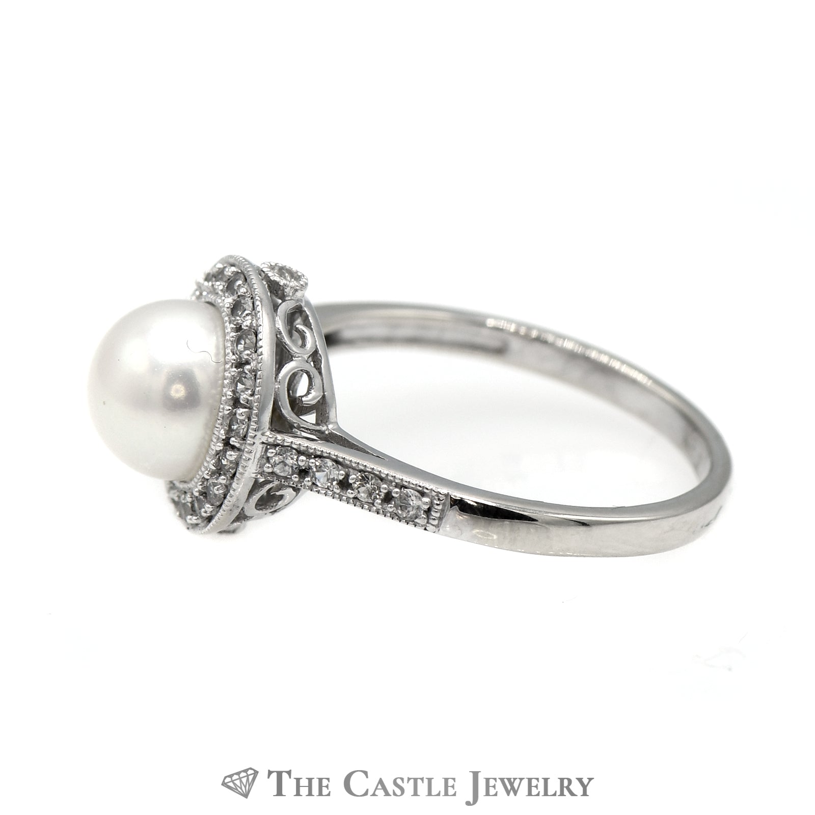 8mm Pearl Ring with White Topaz Halo & Accents in 14k White Gold-2