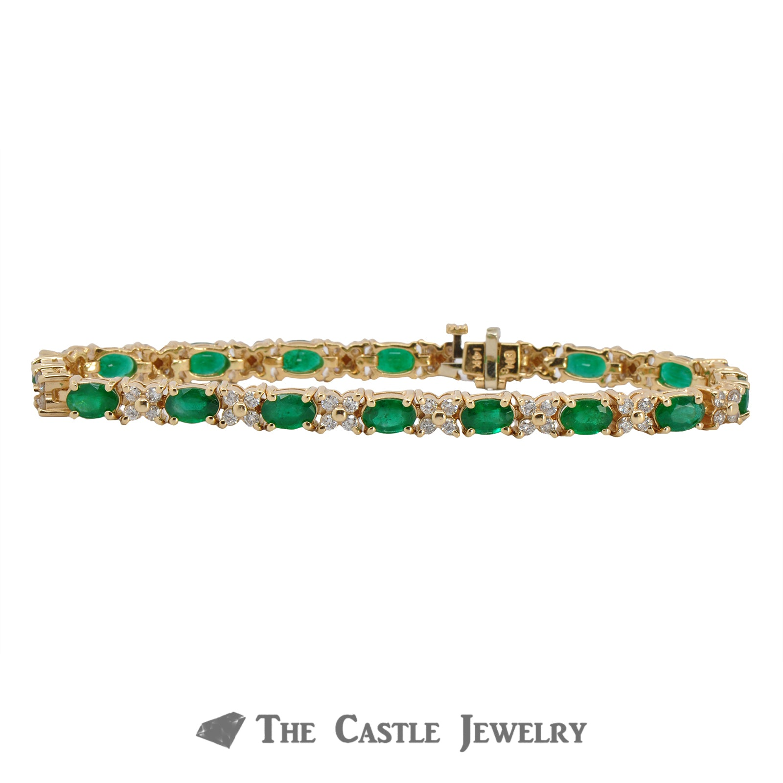 Oval Cut Emerald and Diamond Bracelet in 14K Yellow Gold