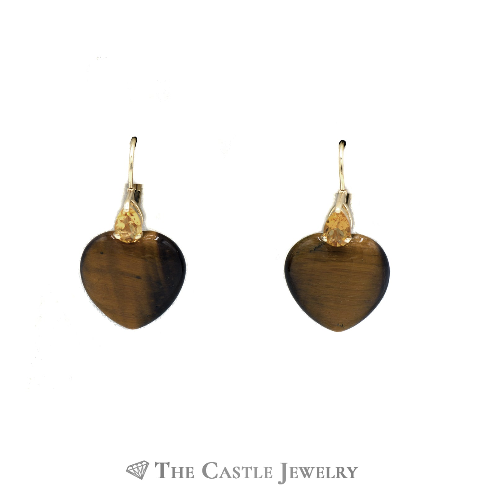 Tigers Eye Heart Earrings with Citrine Accents in 14K Yellow Gold