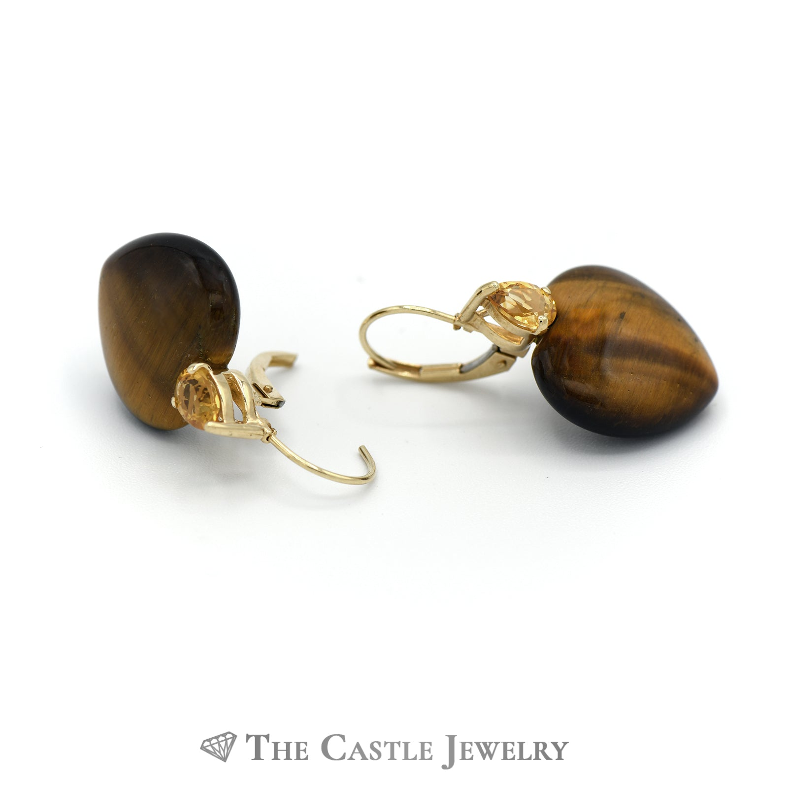 Tigers Eye Heart Earrings with Citrine Accents in 14K Yellow Gold-1