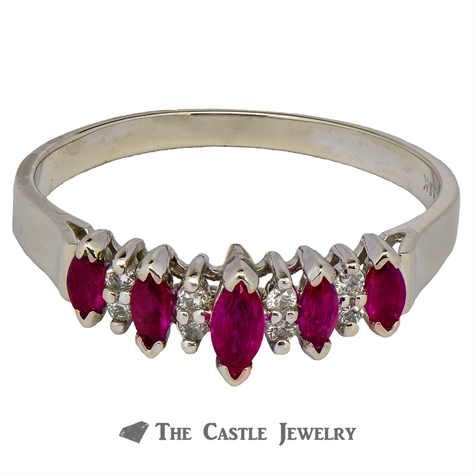Ruby and Diamond Anniversary Ring in 14K White Gold