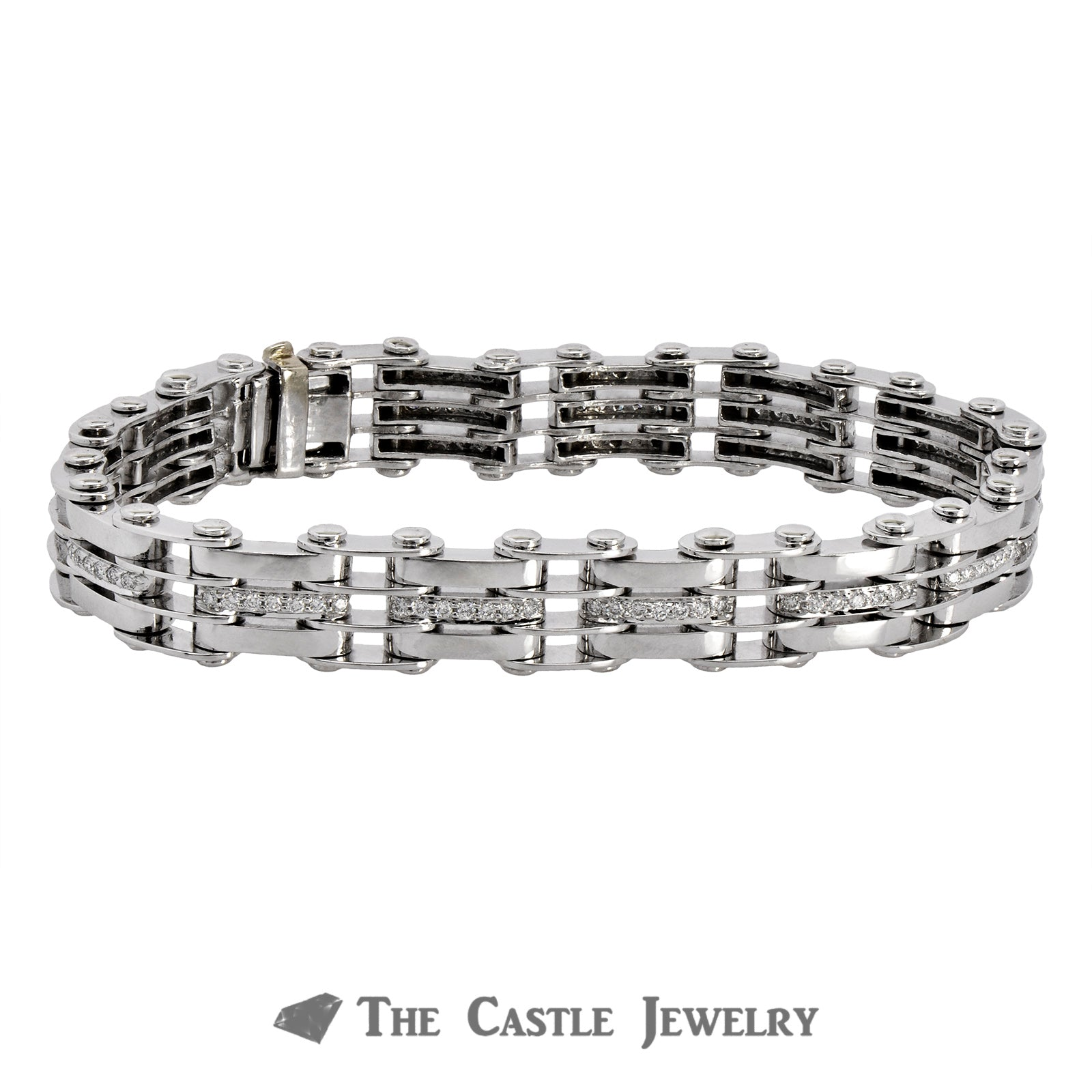 14K White Gold Men's Bracelet with Railroad Links and Diamonds