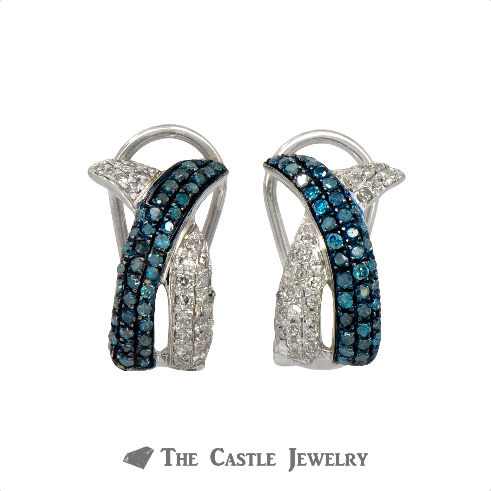 Interweaving Blue and White Pave Diamond Earrings in 10k White Gold