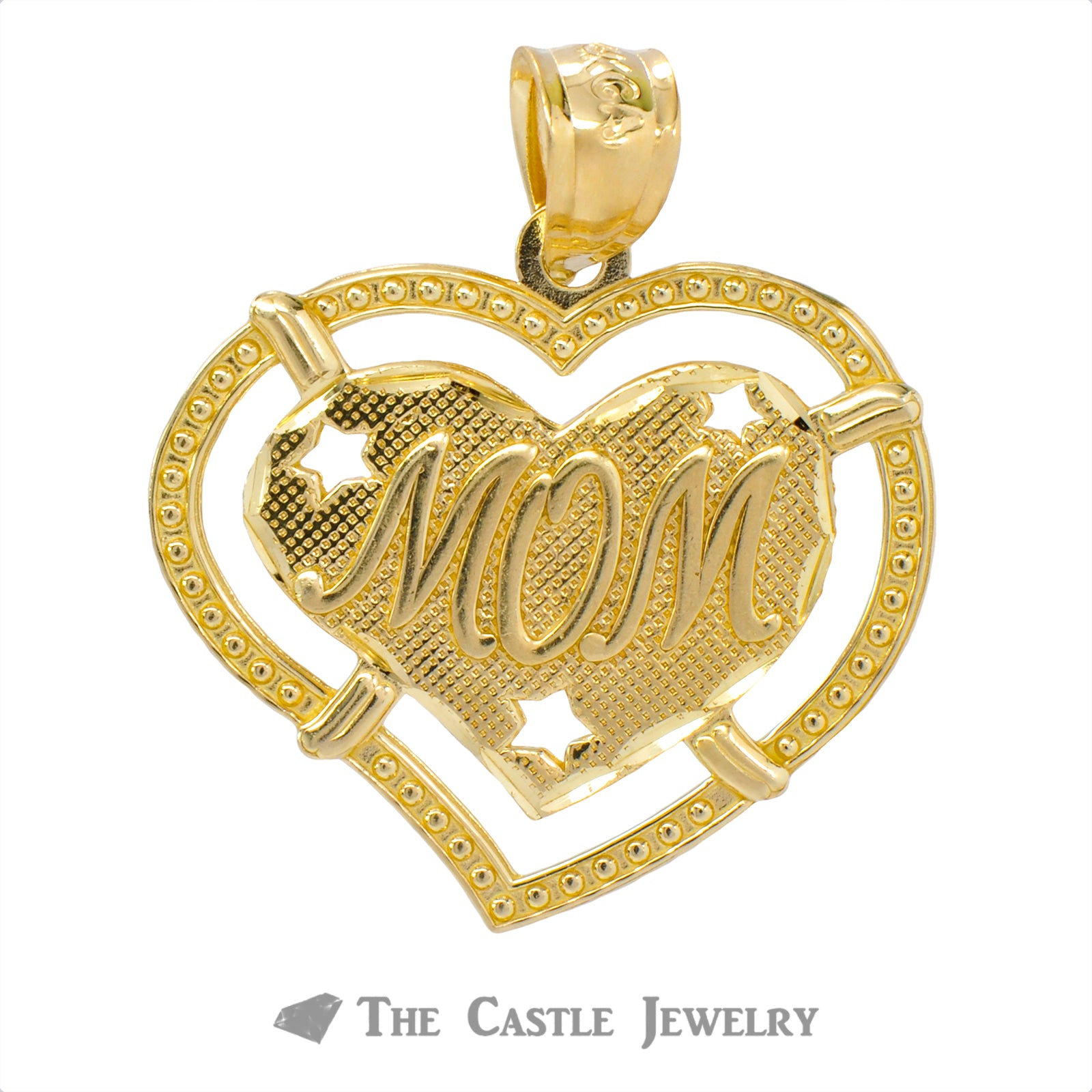"Heart ""Mom"" Pendant Crafted in 14K Yellow Gold"