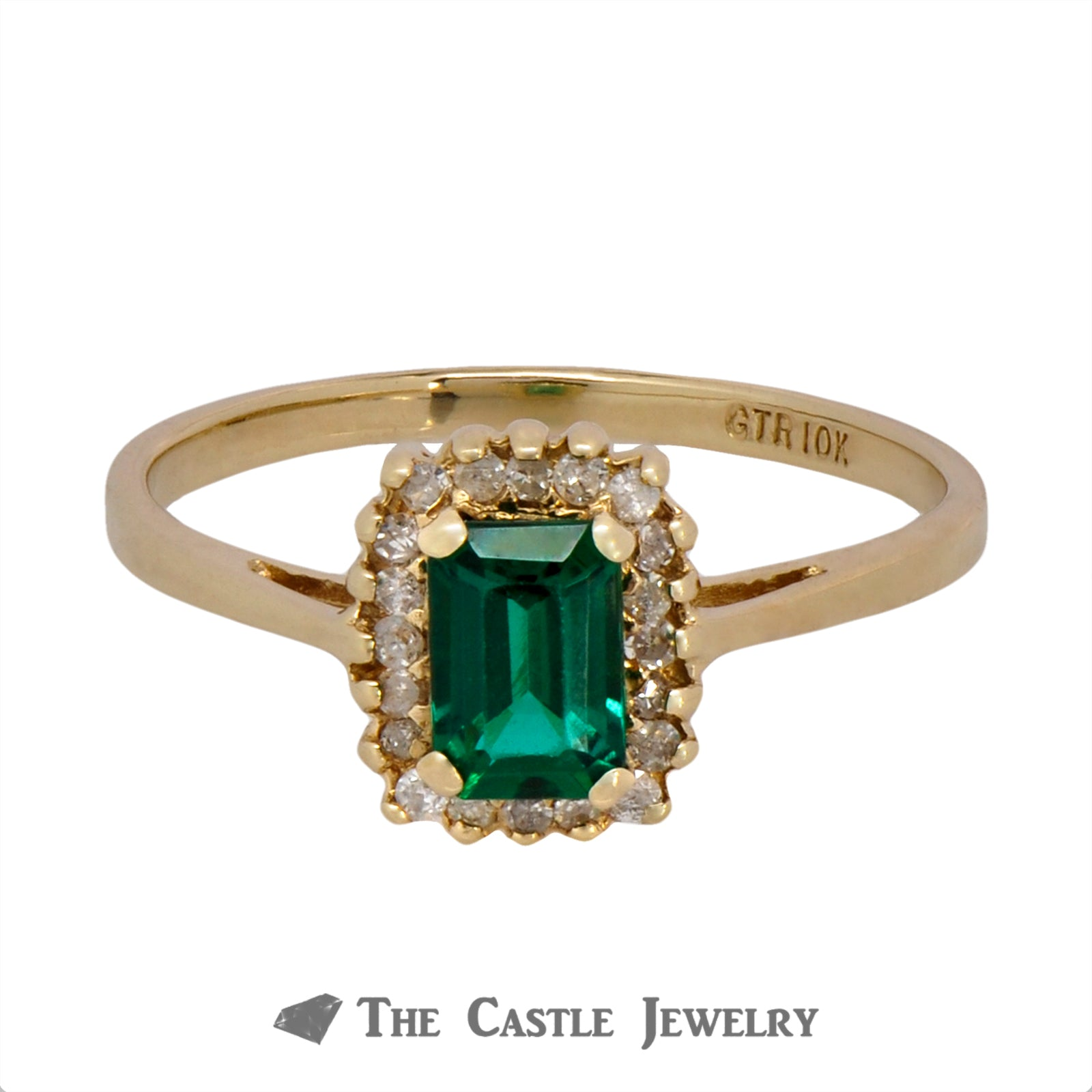 Emerald Ring with Round Brilliant Cut Diamond Halo Crafted in 10k Yellow Gold