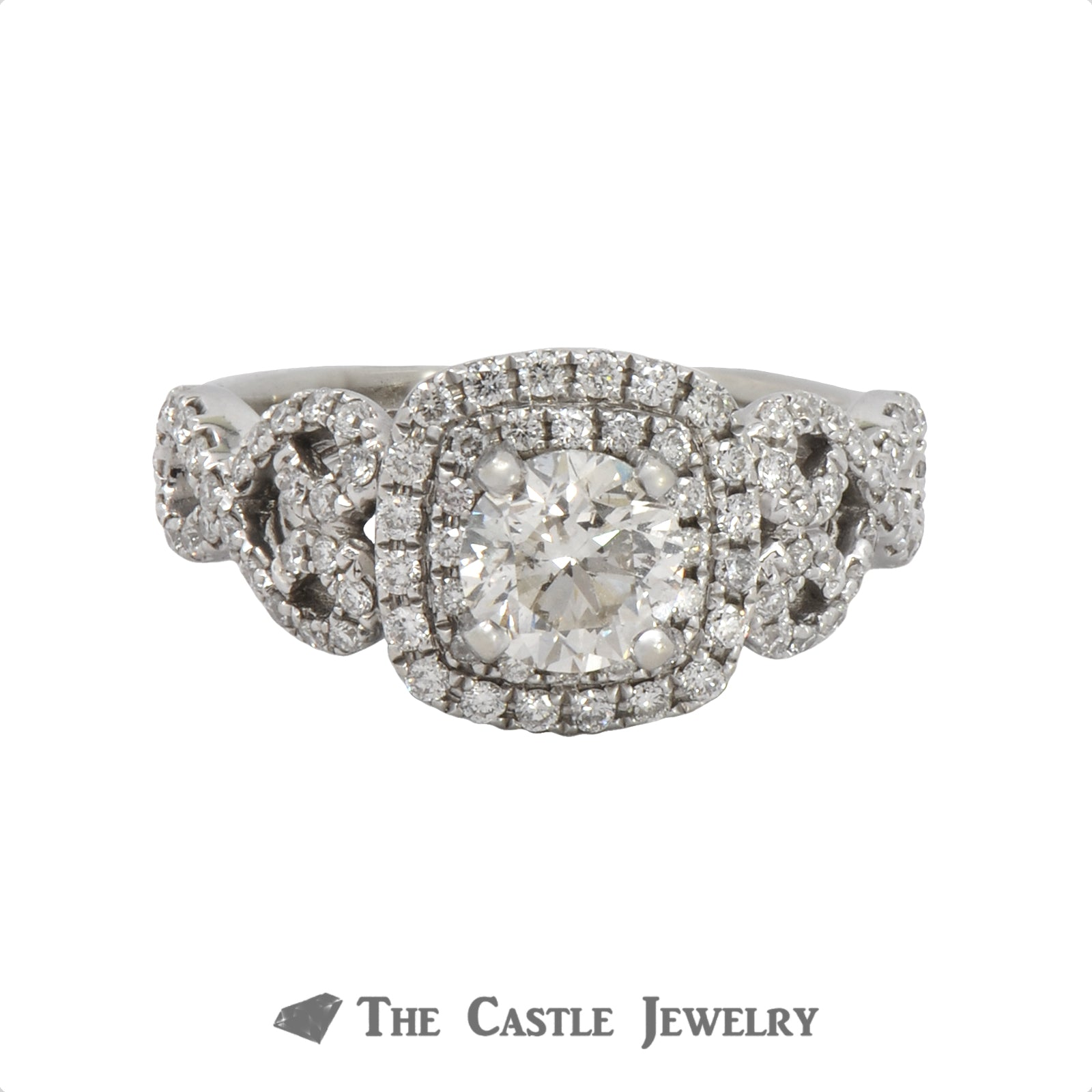 Diamond Engagement Ring With 1cttw Diamond Halo & Accents In 14k White Gold