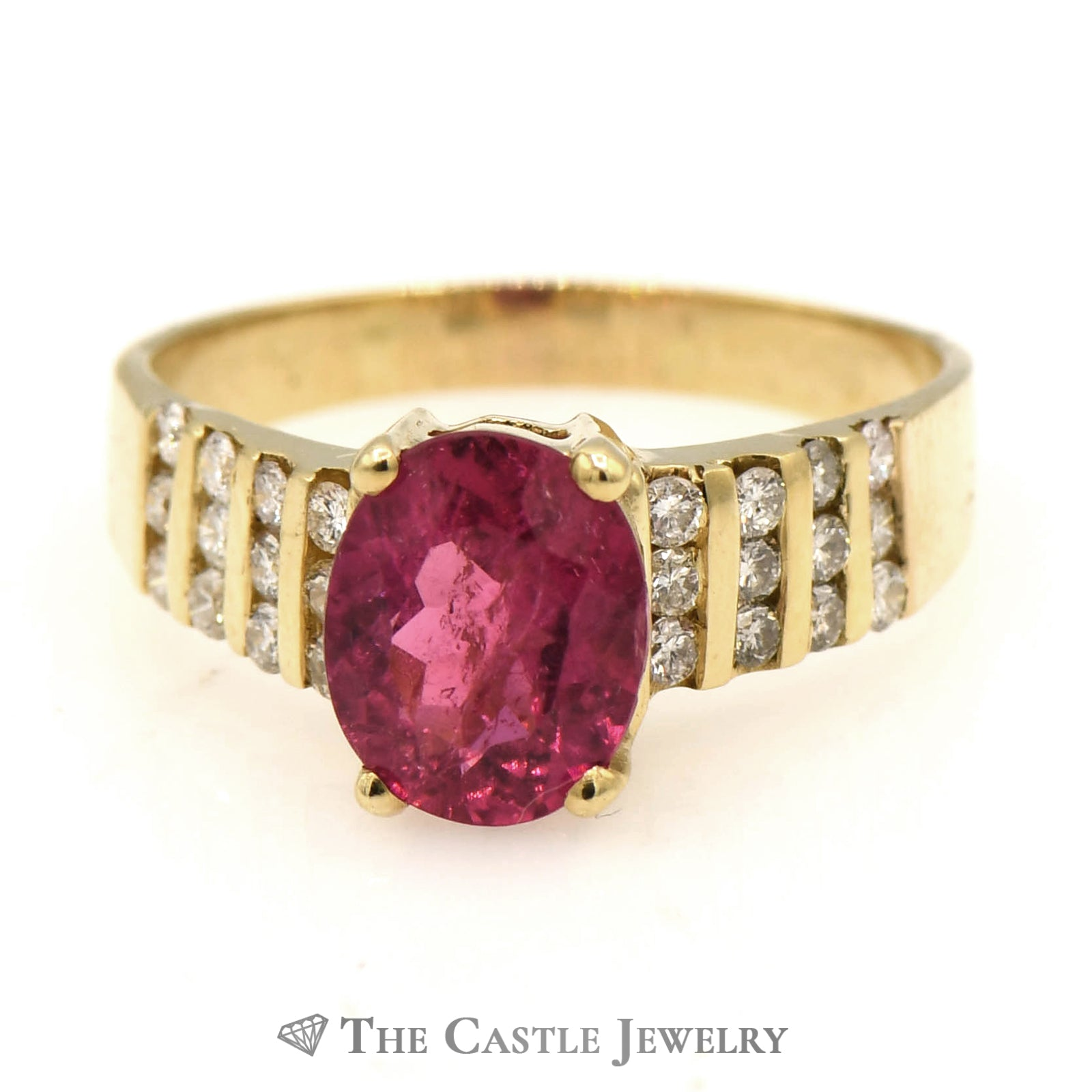 Oval Pink Tourmaline Ring with 8 Rows of Diamonds
