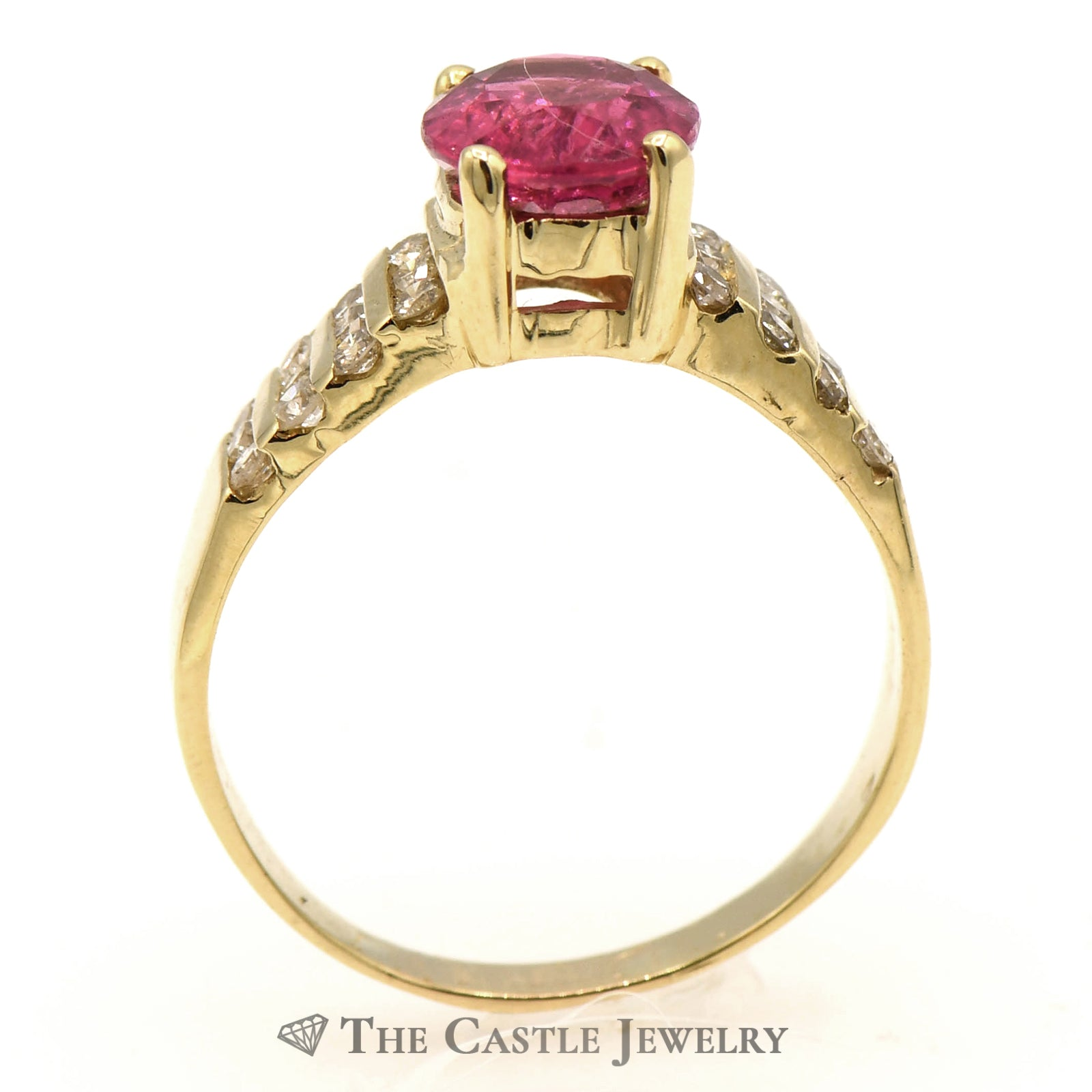 Oval Pink Tourmaline Ring with 8 Rows of Diamonds-1