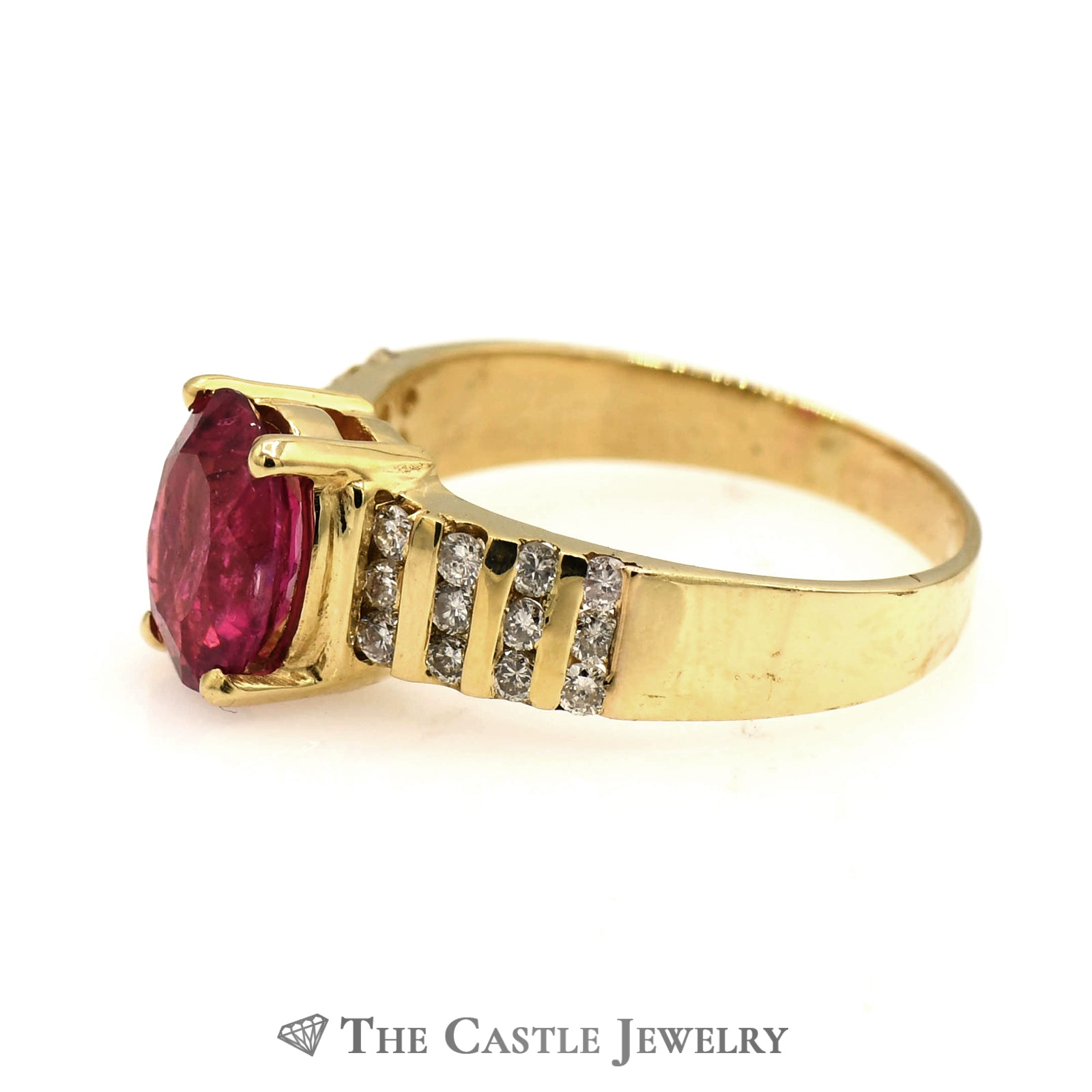 Oval Pink Tourmaline Ring with 8 Rows of Diamonds-2