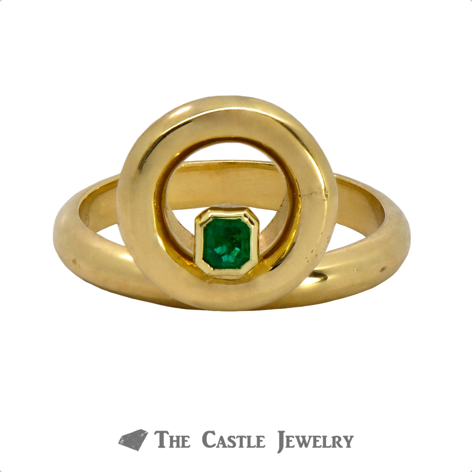 Unique Circle Designed Ring with Emerald Cut Emerald Crafted in 18k Yellow Gold