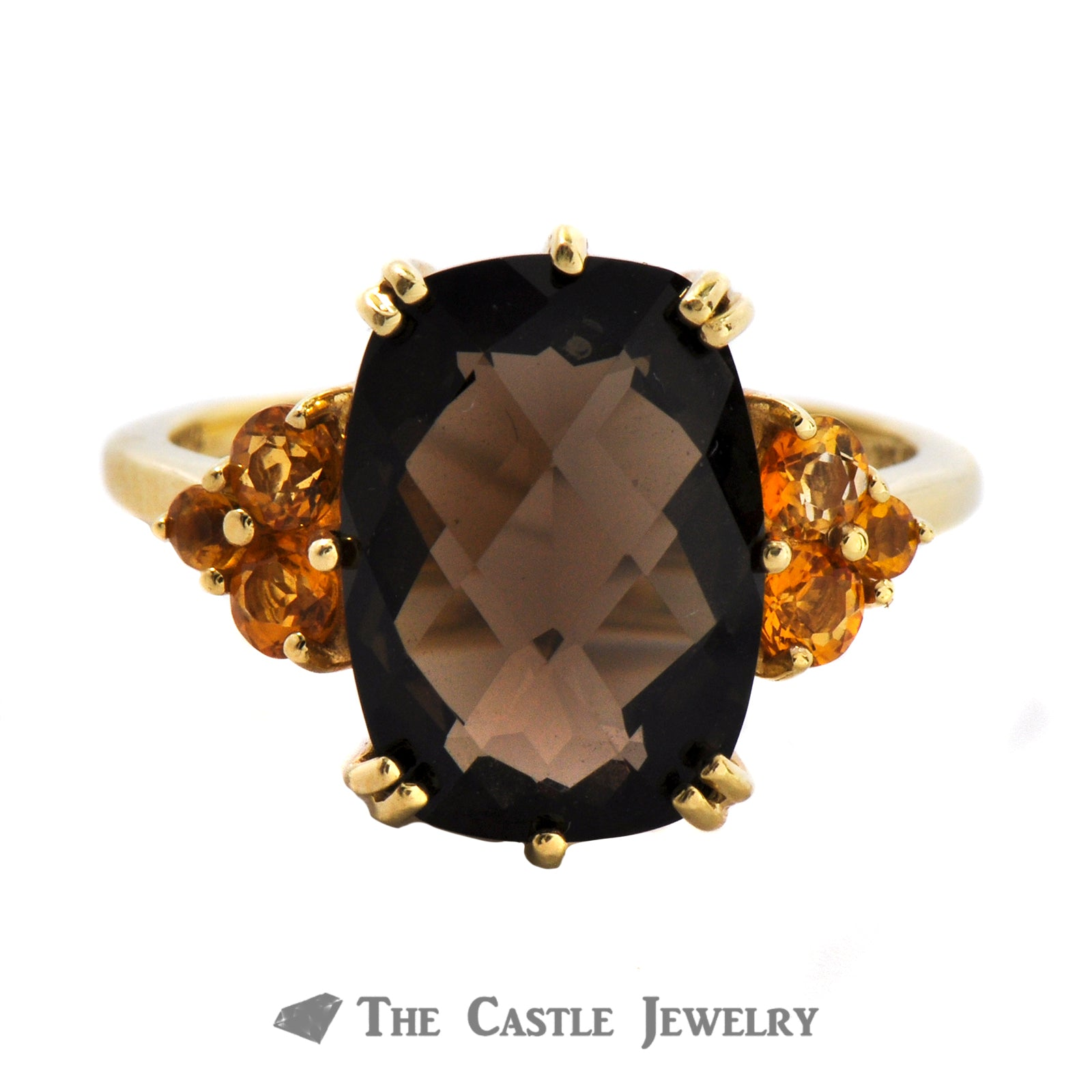 Fantasy Cut Smoky Quartz And Citrine Ring In 14K Yellow Gold