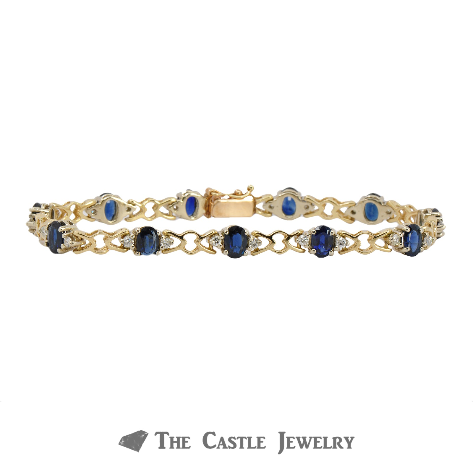 Oval Sapphire Bracelet with Diamond & Heart Accents in 14K Gold