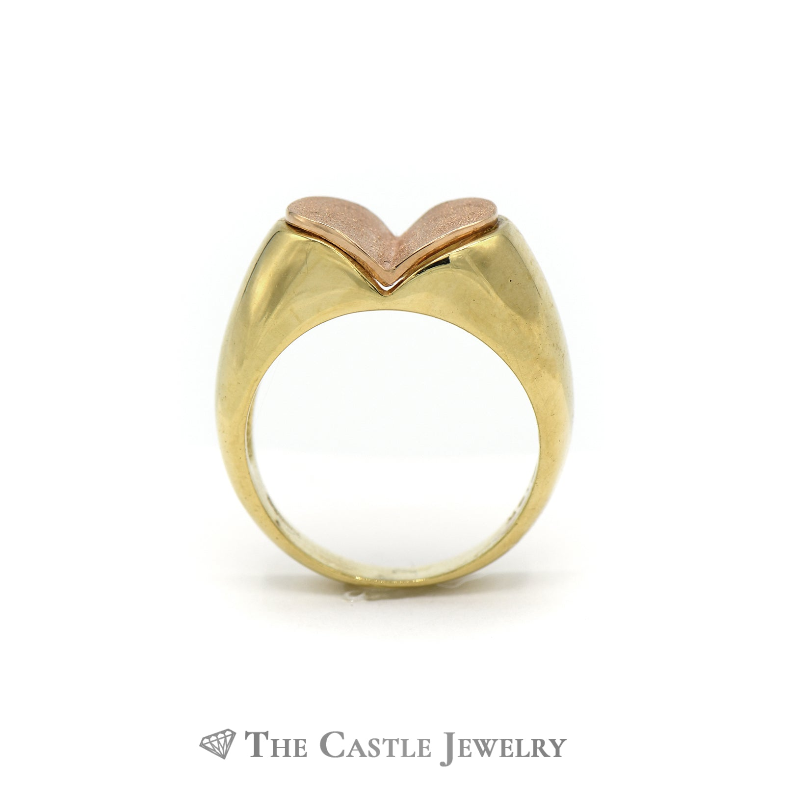 Unique Satin Finish Two Toned Heart Ring in 18K Yellow and Rose Gold-1